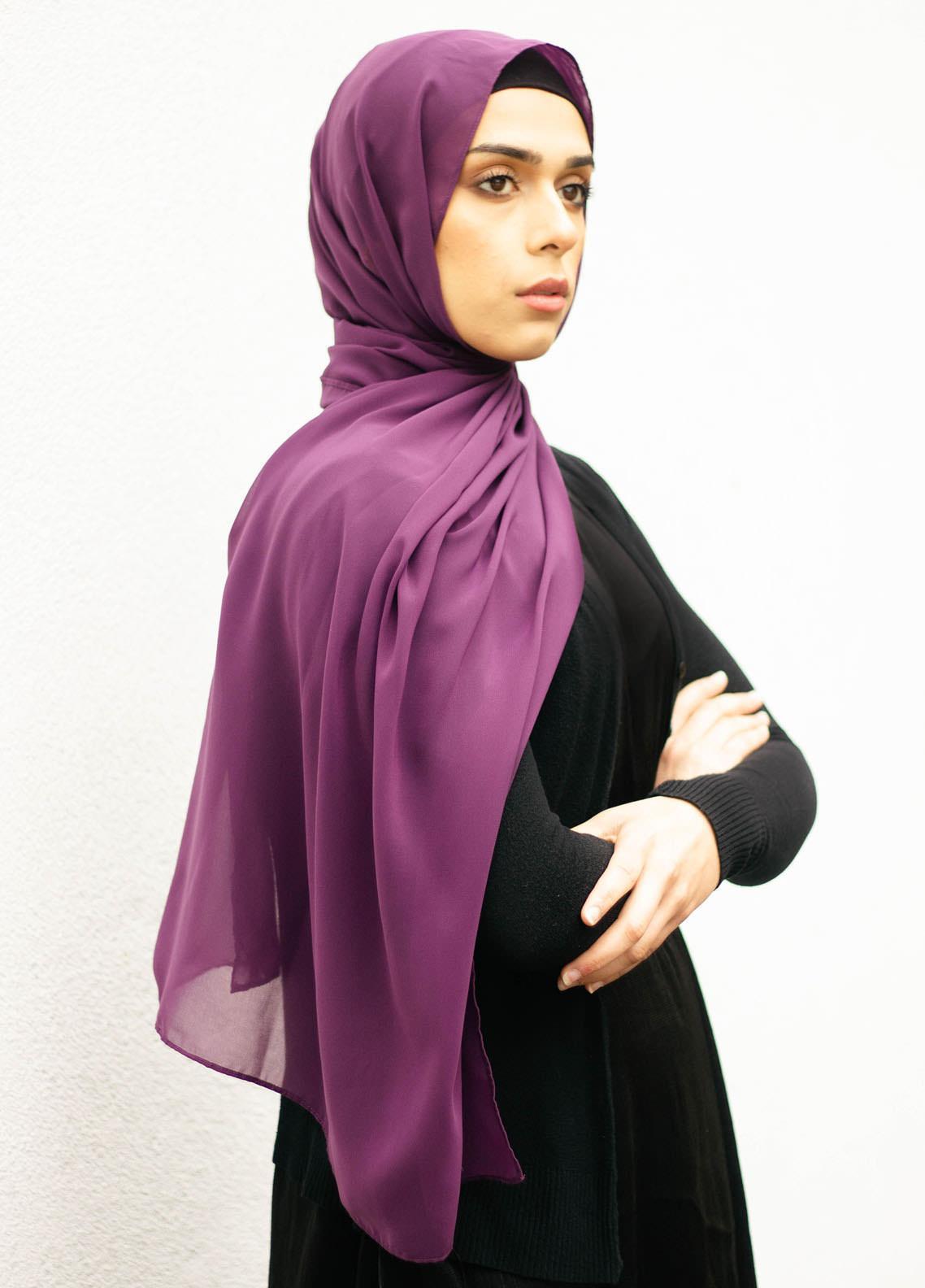 Nida Gul Printed Chiffon Hijab NG20MDH H-101 Luxury Butter Chiffon Hijab Amethyst
