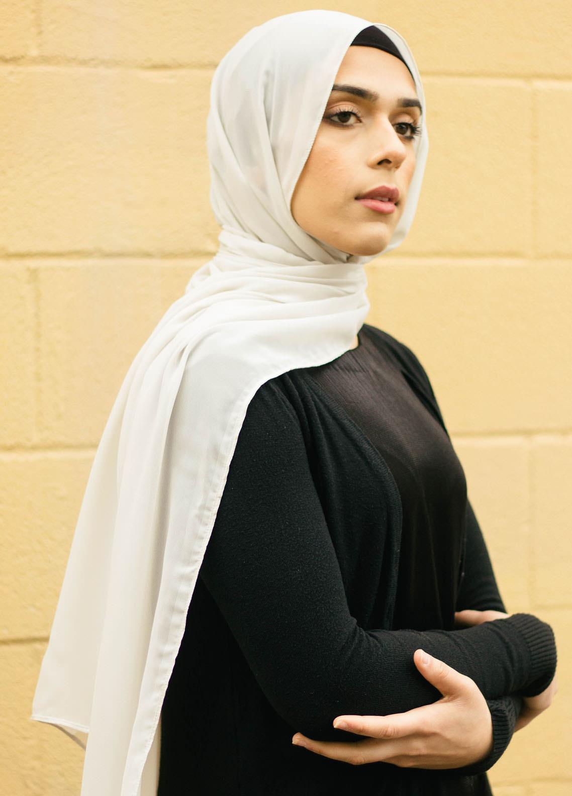 Nida Gul Printed Chiffon Hijab NG20MDH H-101 Luxury Butter Chiffon Hijab Milk