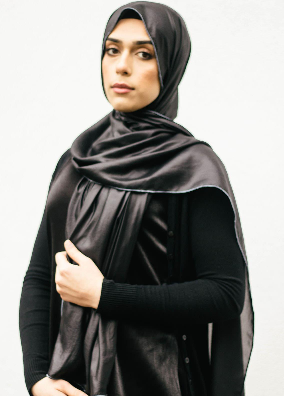 Nida Gul Printed Chiffon Hijab NG20MDH H-102 Glow Chiffon Hijab Metallic Black