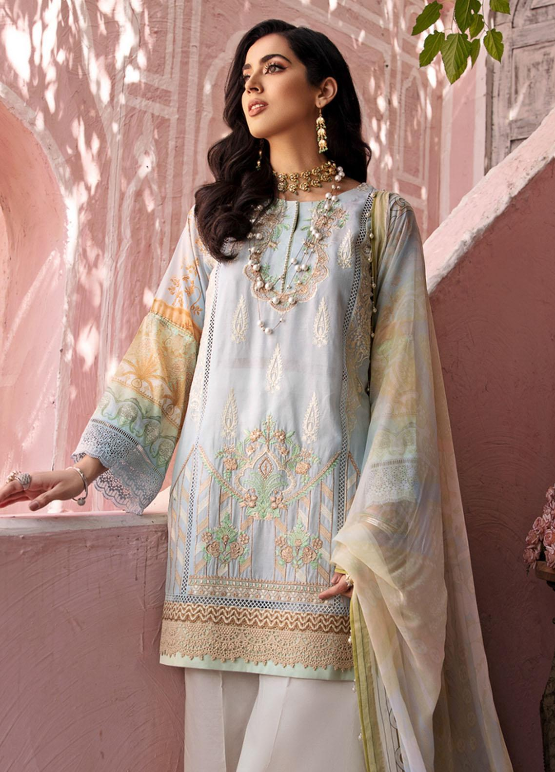 Noor by Saadia Asad Embroidered Chikankari Suits Unstitched 3 Piece NSA21E 1B - Festive Collection