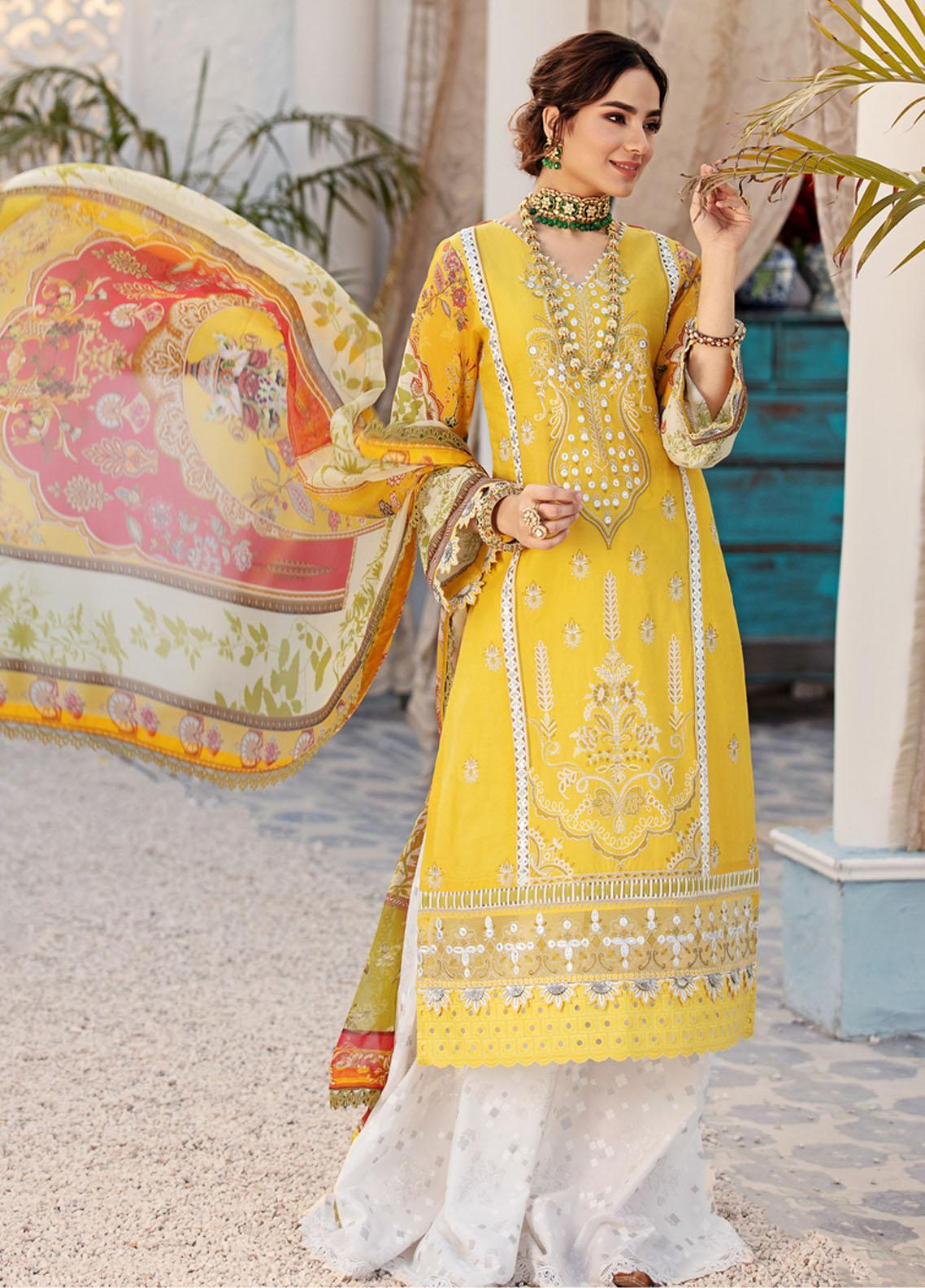 Noor by Saadia Asad Embroidered Chikankari Suits Unstitched 3 Piece NSA21E 2A - Festive Collection