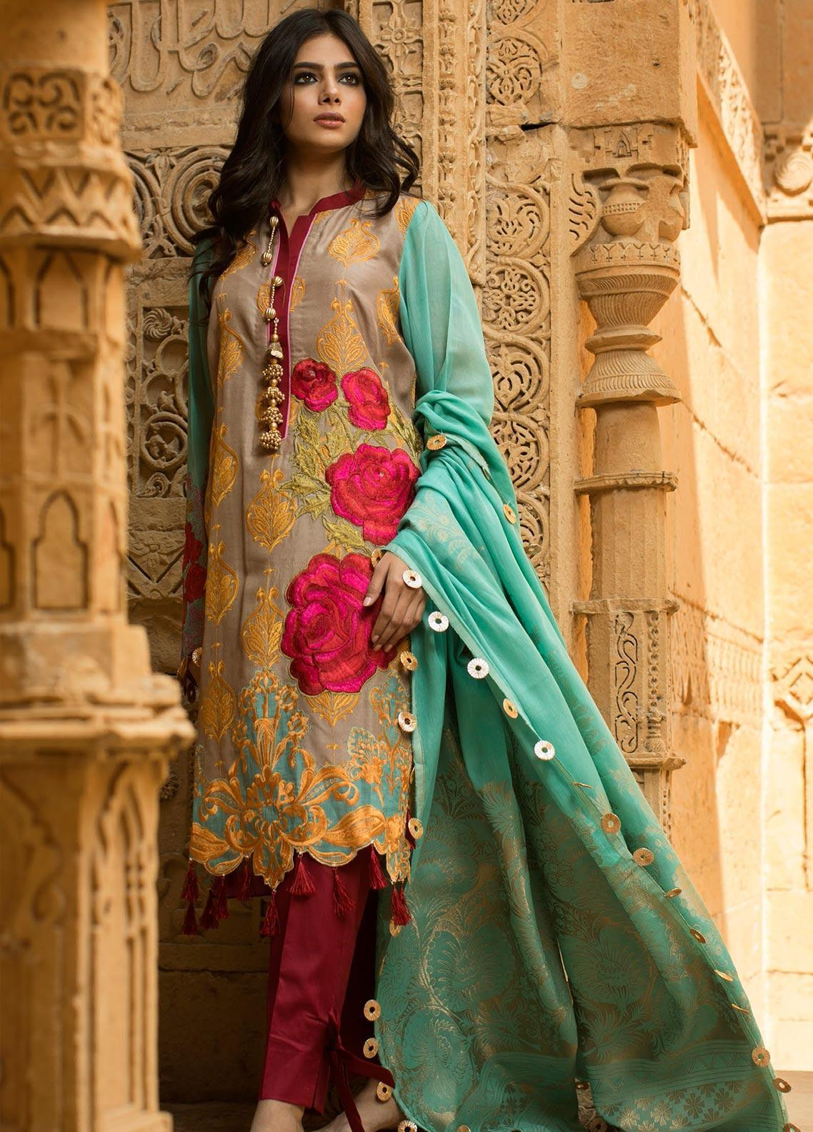Noor-e-Fizzata Embroidered Viscose Unstitched 3 Piece Suit NF19V 4 - Winter Formal Collection