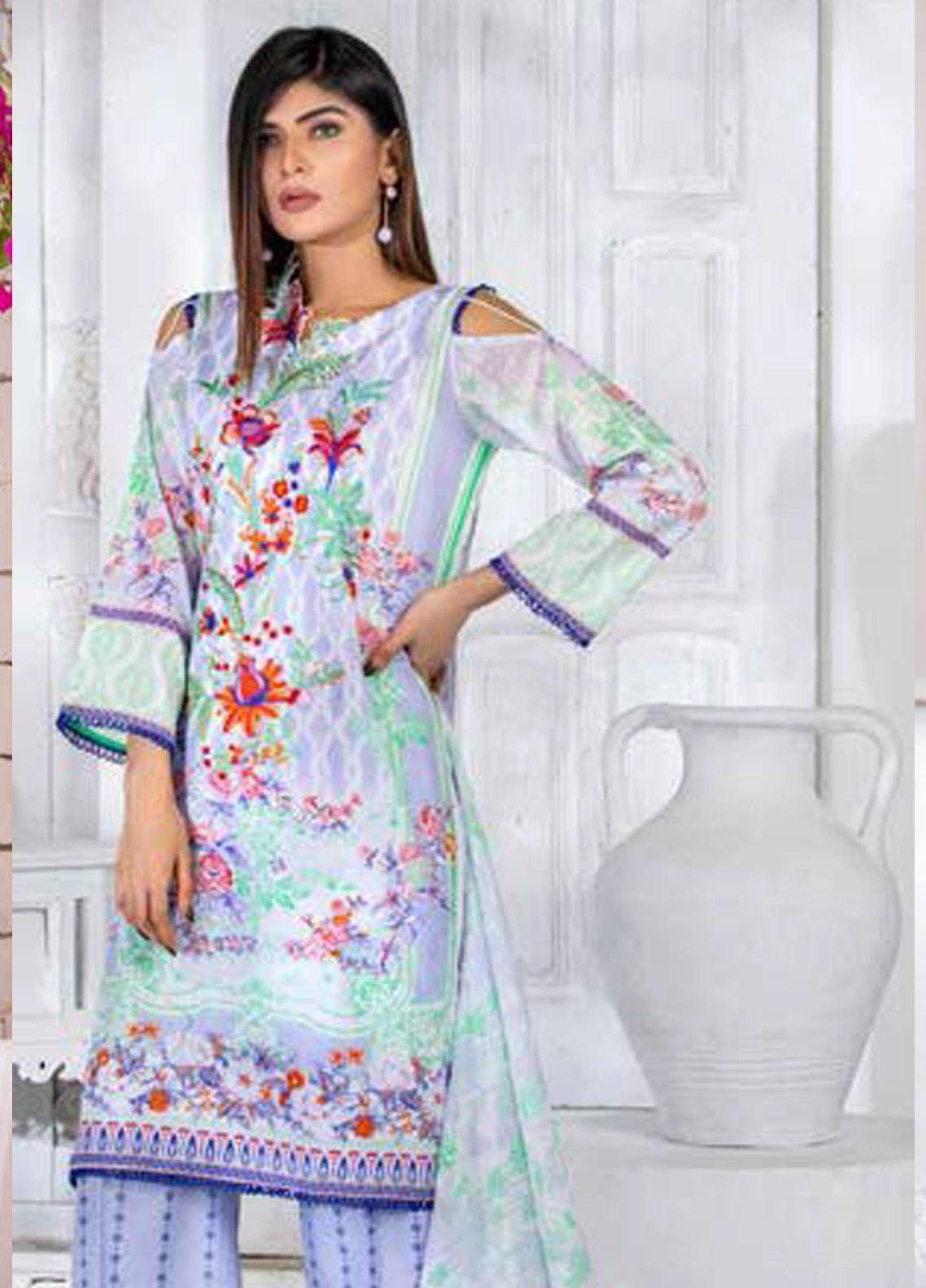 Noor Jahan Embroidered Lawn Unstitched 3 Piece Suit NJ20P 10 - Spring / Summer Collection