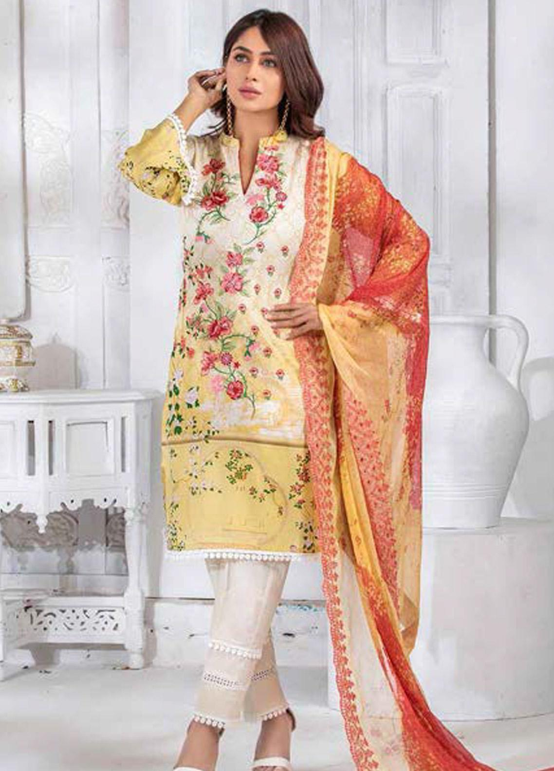Noor Jahan Embroidered Lawn Unstitched 3 Piece Suit NJ20P 15 - Spring / Summer Collection