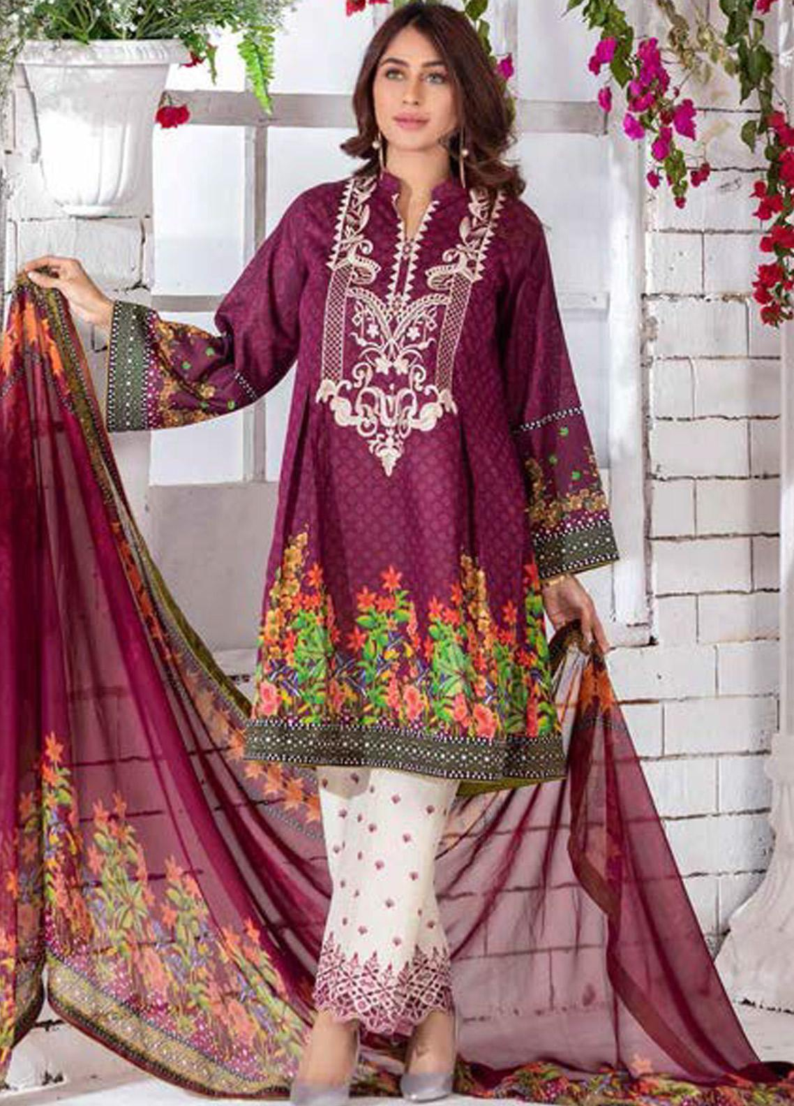 Noor Jahan Embroidered Lawn Unstitched 3 Piece Suit NJ20P 17 - Spring / Summer Collection