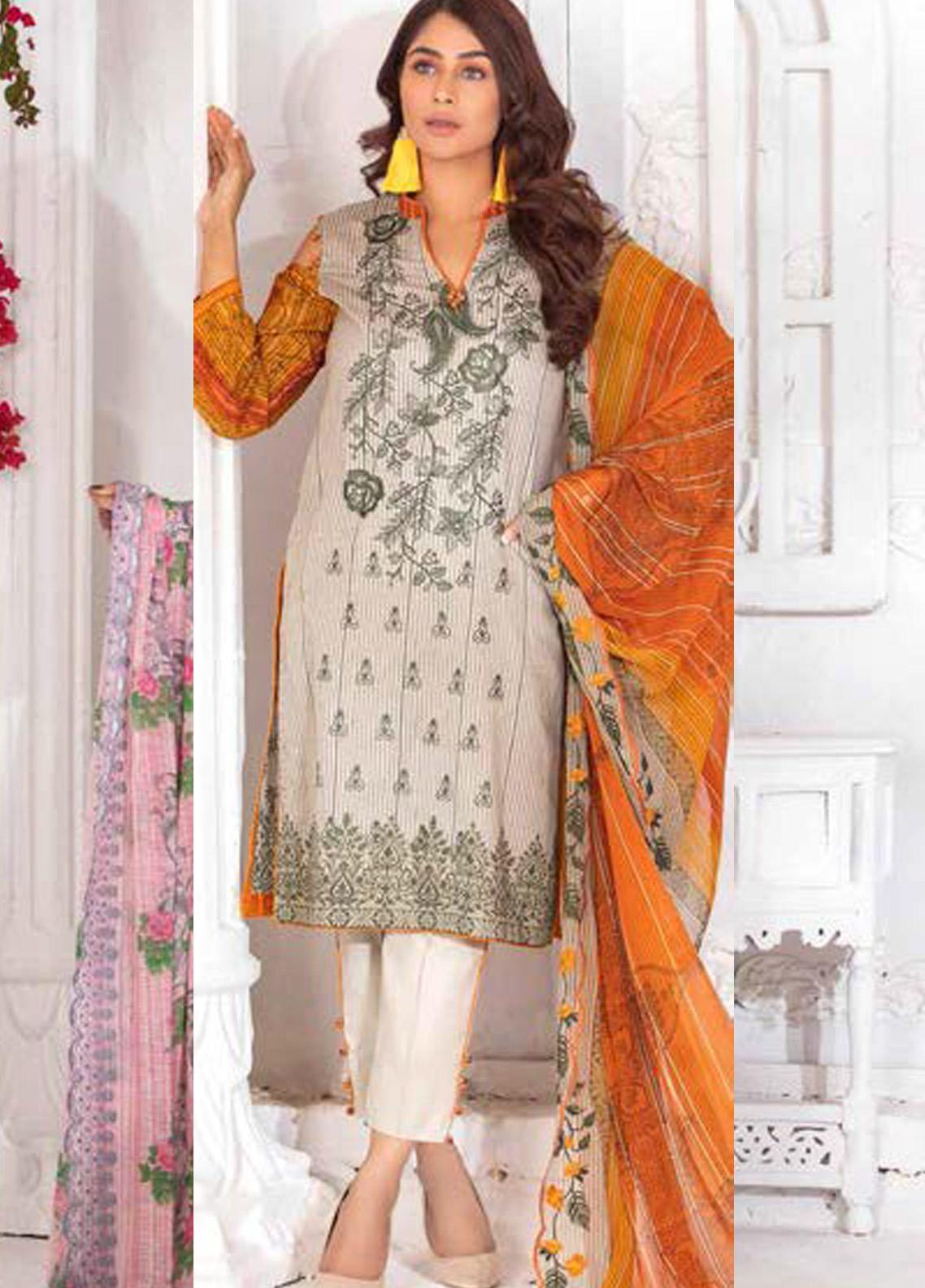 Noor Jahan Embroidered Lawn Unstitched 3 Piece Suit NJ20P 7 - Spring / Summer Collection
