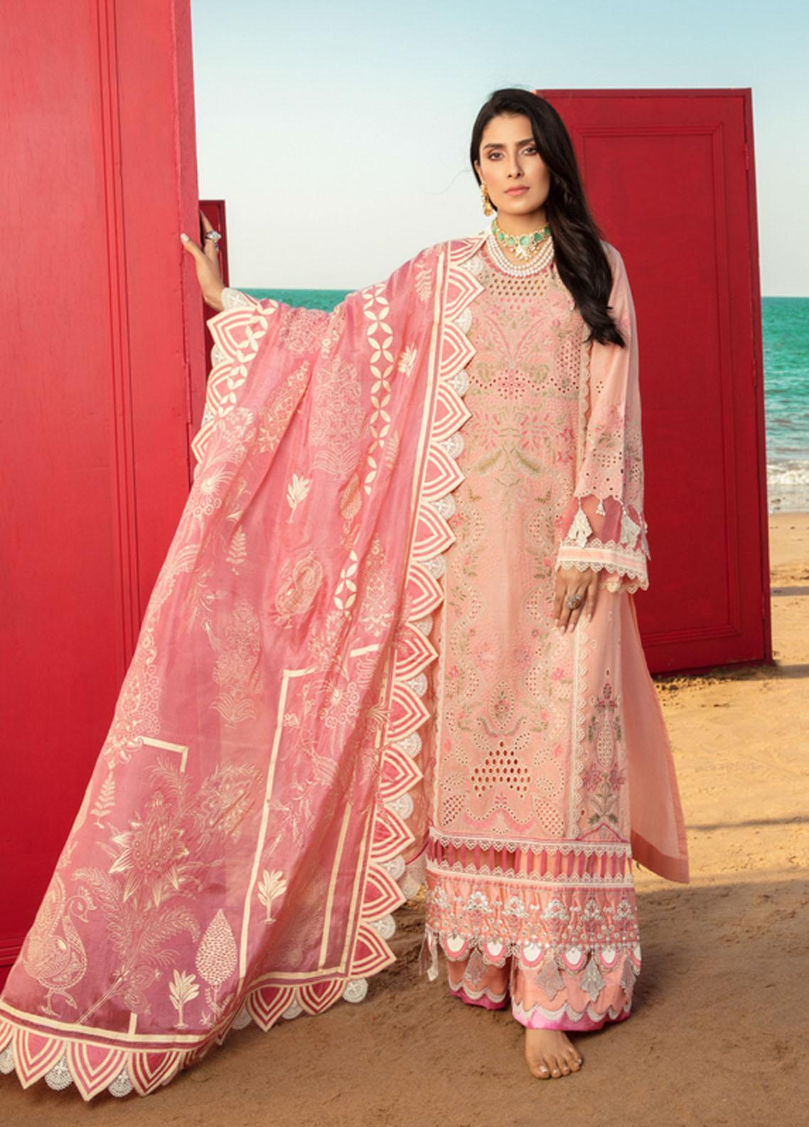 Noor by Saadia Asad Embroidered Lawn Suits Unstitched 3 Piece SA21NL 10B - Luxury Collection