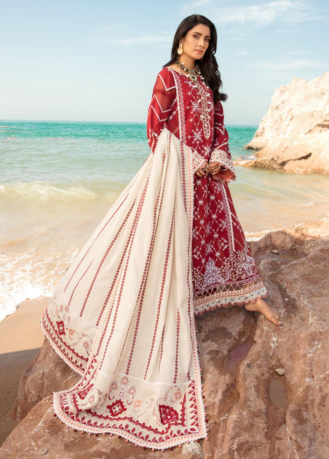 Noor by Saadia Asad Embroidered Lawn Suits Unstitched 3 Piece SA21NL 12B - Luxury Collection