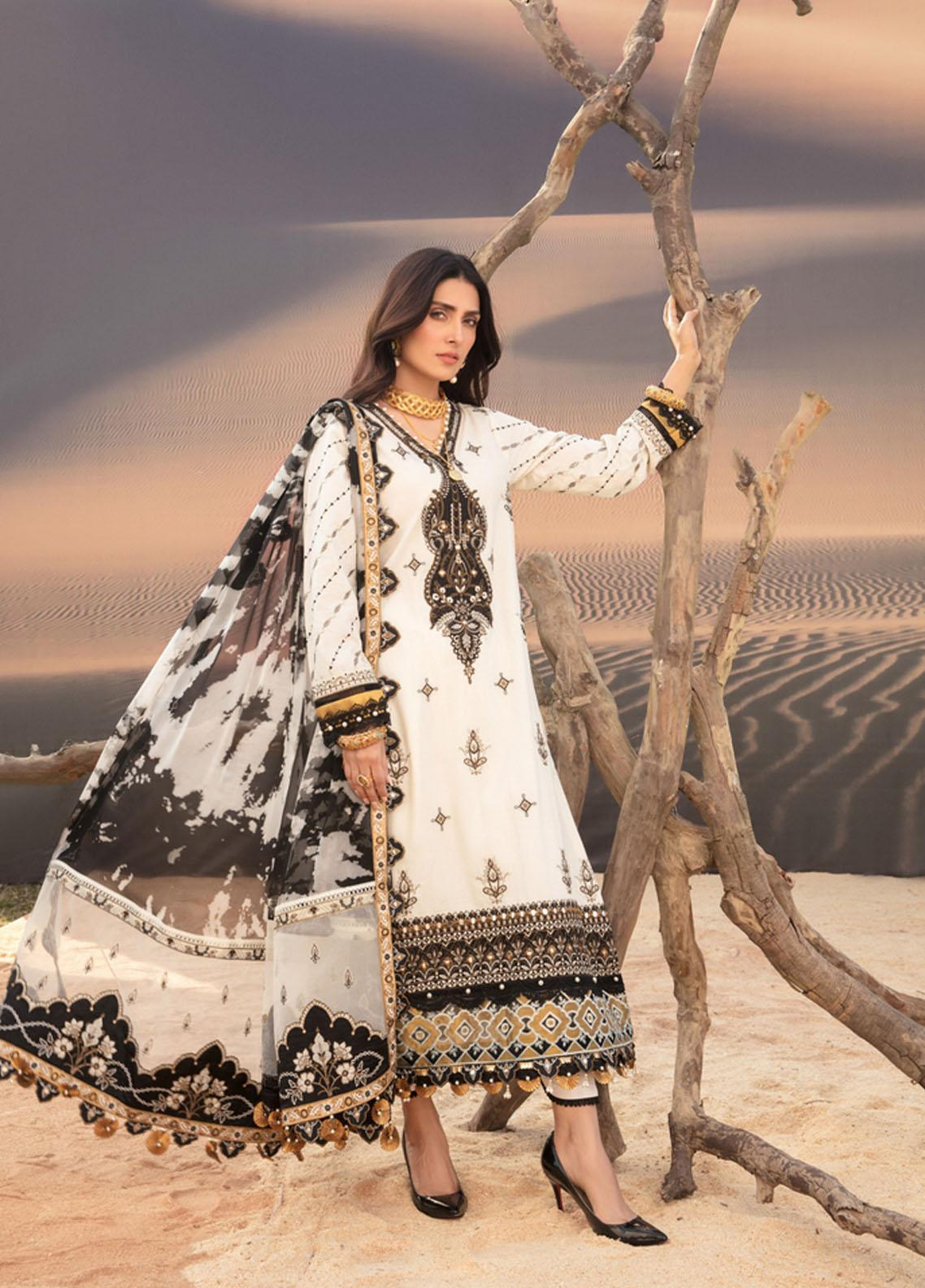 Noor by Saadia Asad Embroidered Lawn Suits Unstitched 3 Piece SA21NL 7B - Luxury Collection