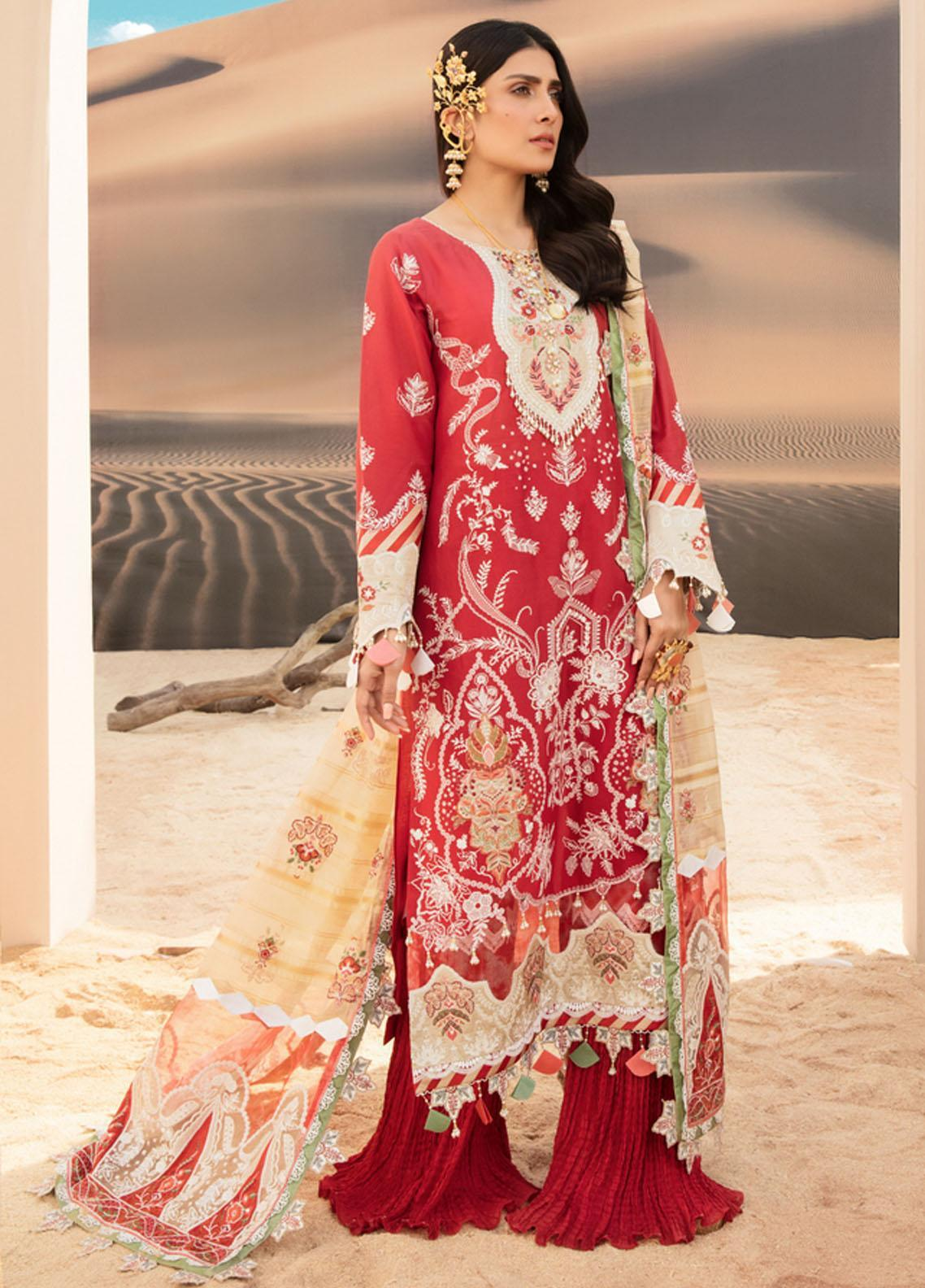 Noor by Saadia Asad Embroidered Lawn Suits Unstitched 3 Piece SA21NL 9A - Luxury Collection