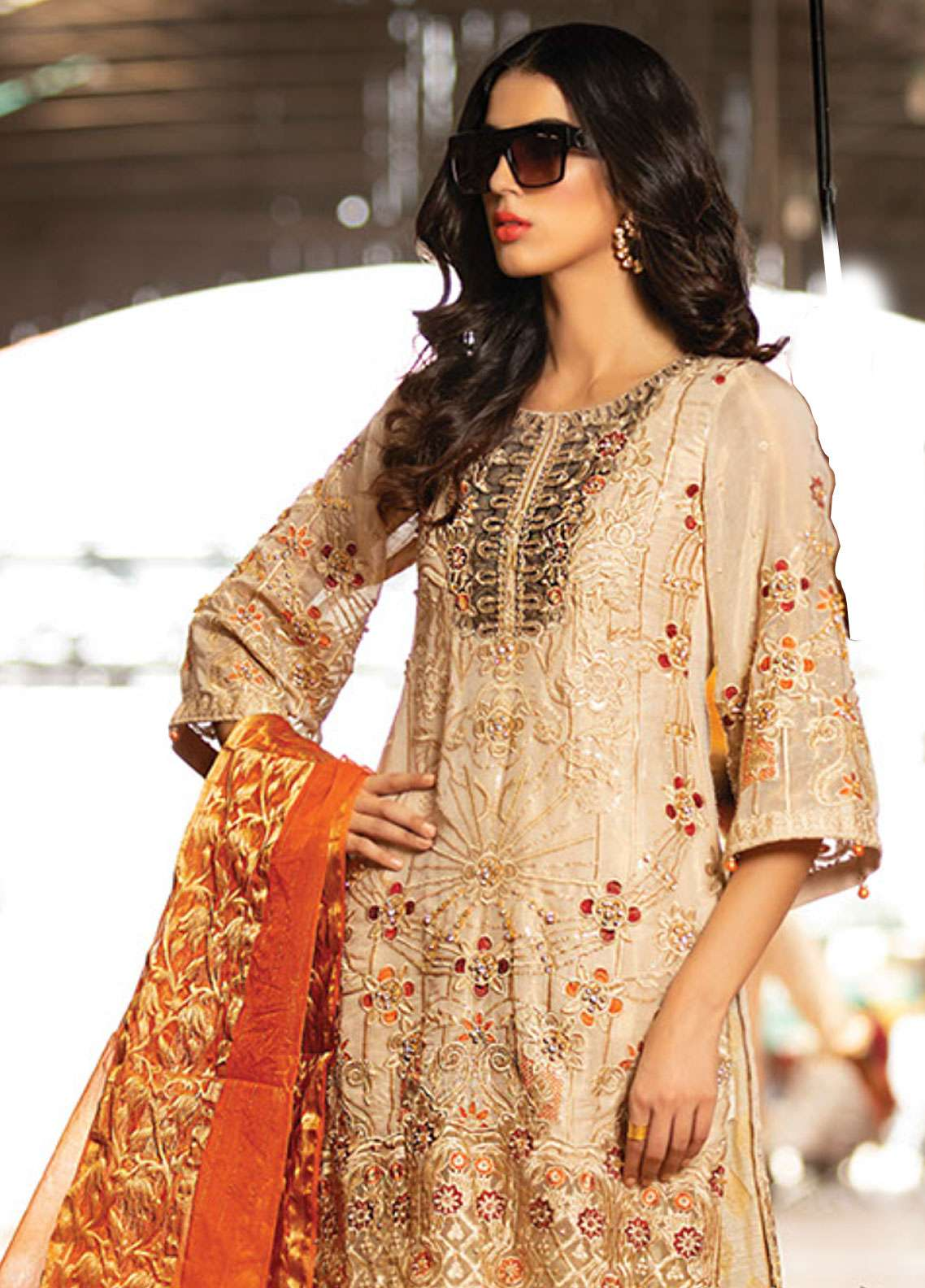 Noorma Kamal Embroidered Missouri Unstitched 3 Piece Suit NK19F 01 SNOW GOLD - Festive Collection