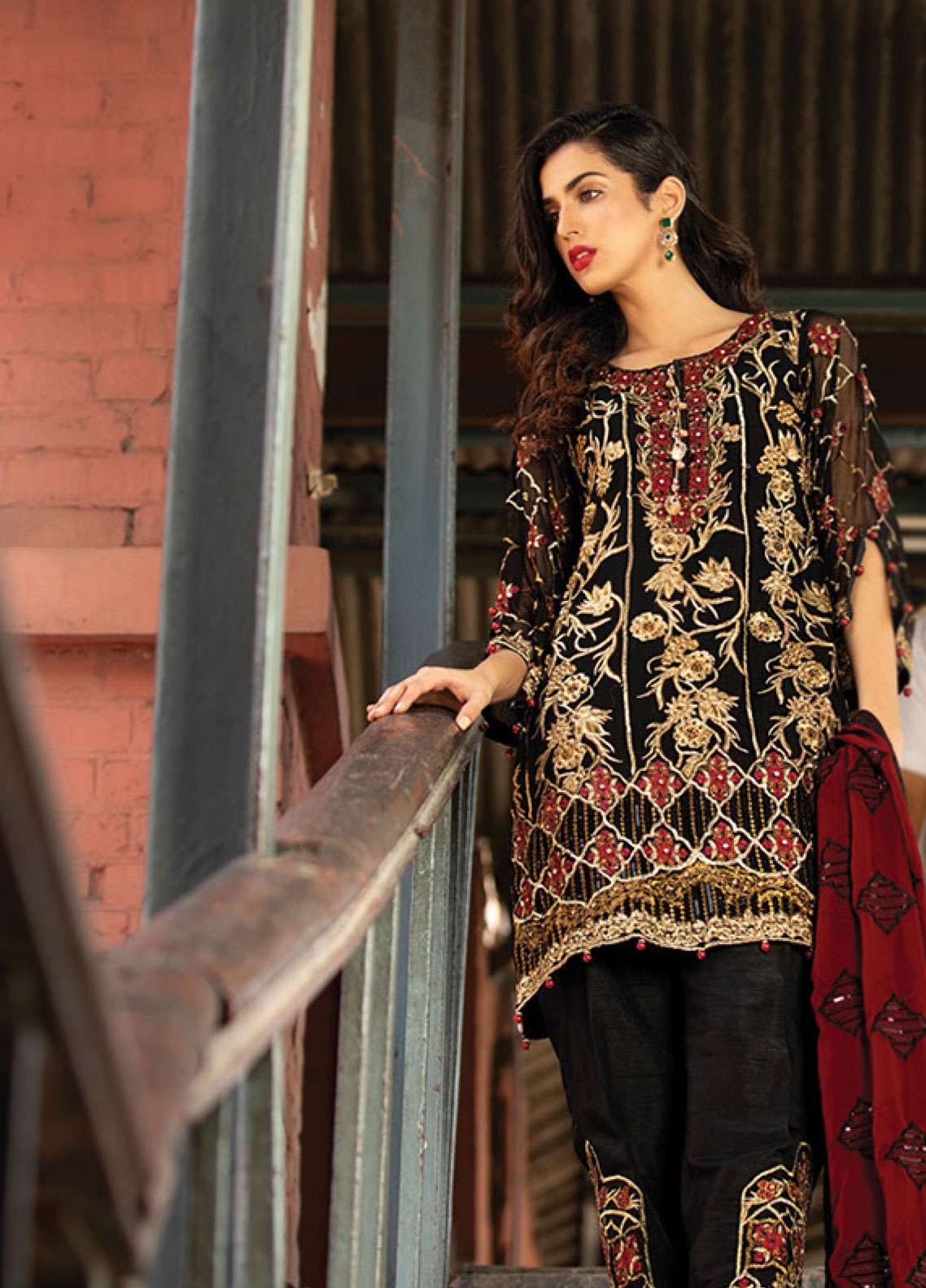 Noorma Kamal Embroidered Chiffon Unstitched 3 Piece Suit NK19F 05 BLACK PANSY - Festive Collection