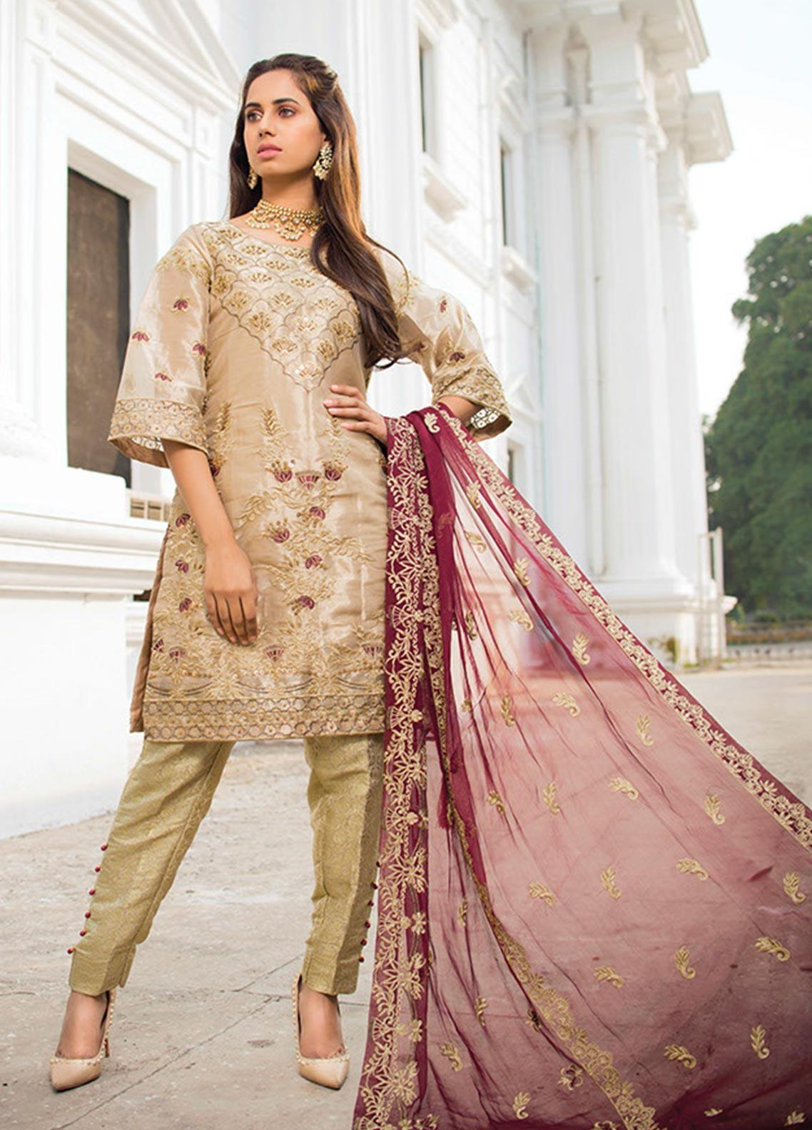 Noorma Kamal Embroidered Missouri Unstitched 3 Piece Suit NK19SW 03 Marigold - Wedding Collection