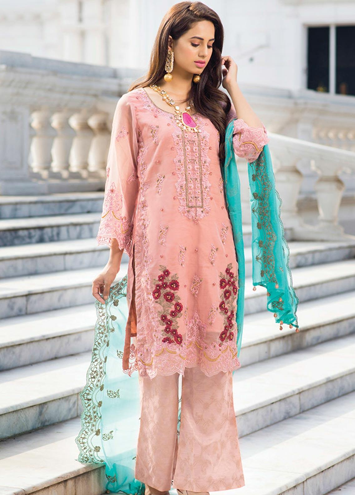Noorma Kamal Embroidered Organza Unstitched 3 Piece Suit NK19SW 05 Peruvian Lily - Wedding Collection