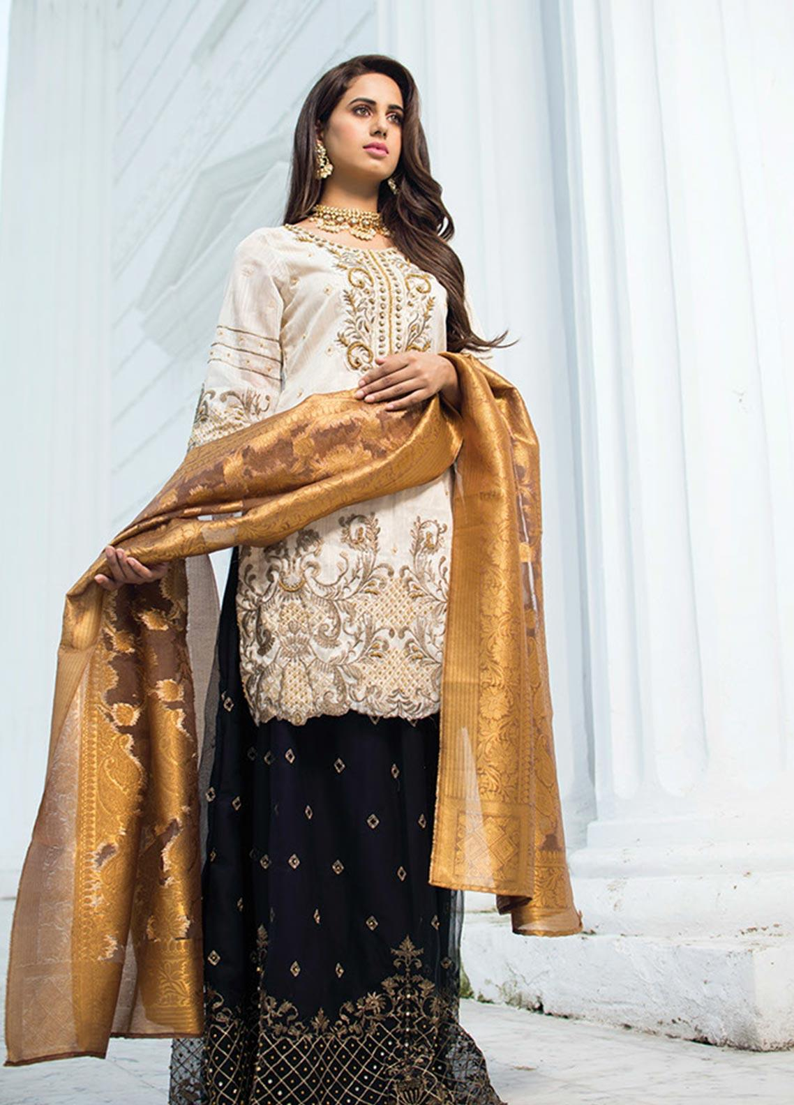 Noorma Kamal Embroidered Missouri Unstitched 3 Piece Suit NK19SW 06 Dusky Buff - Wedding Collection