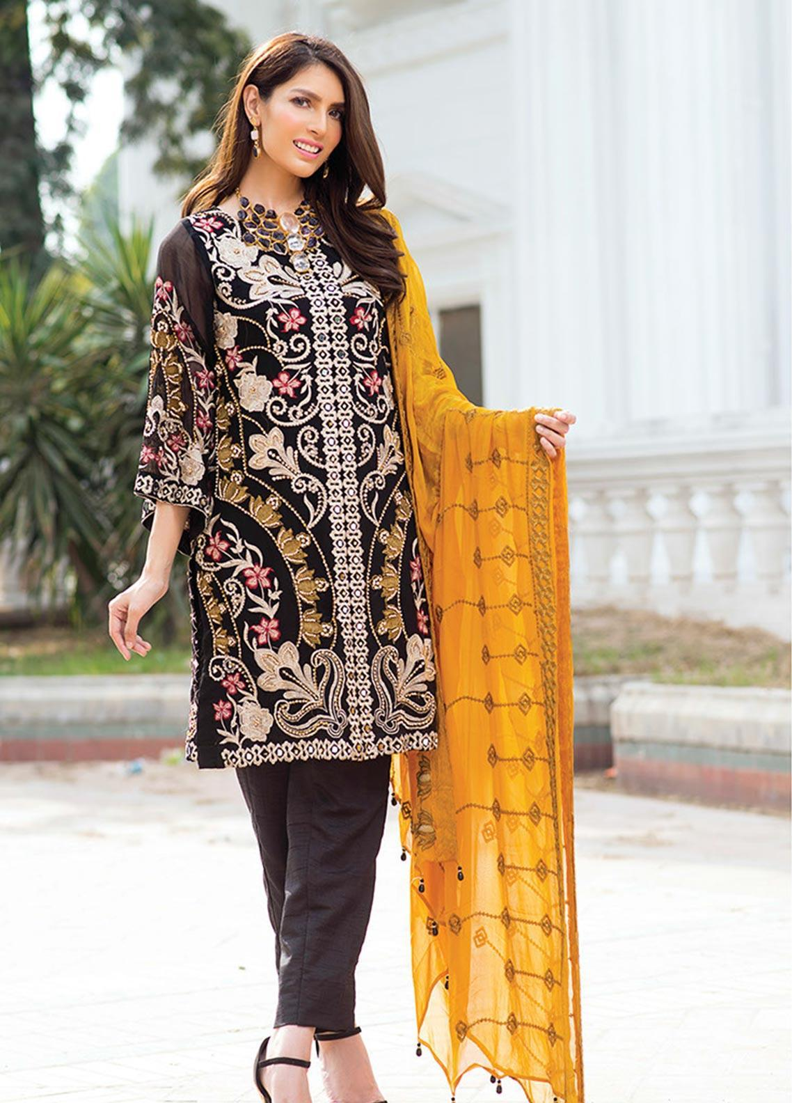 Noorma Kamal Embroidered Chiffon Unstitched 3 Piece Suit NK19SW 08 Ebony Hue - Wedding Collection
