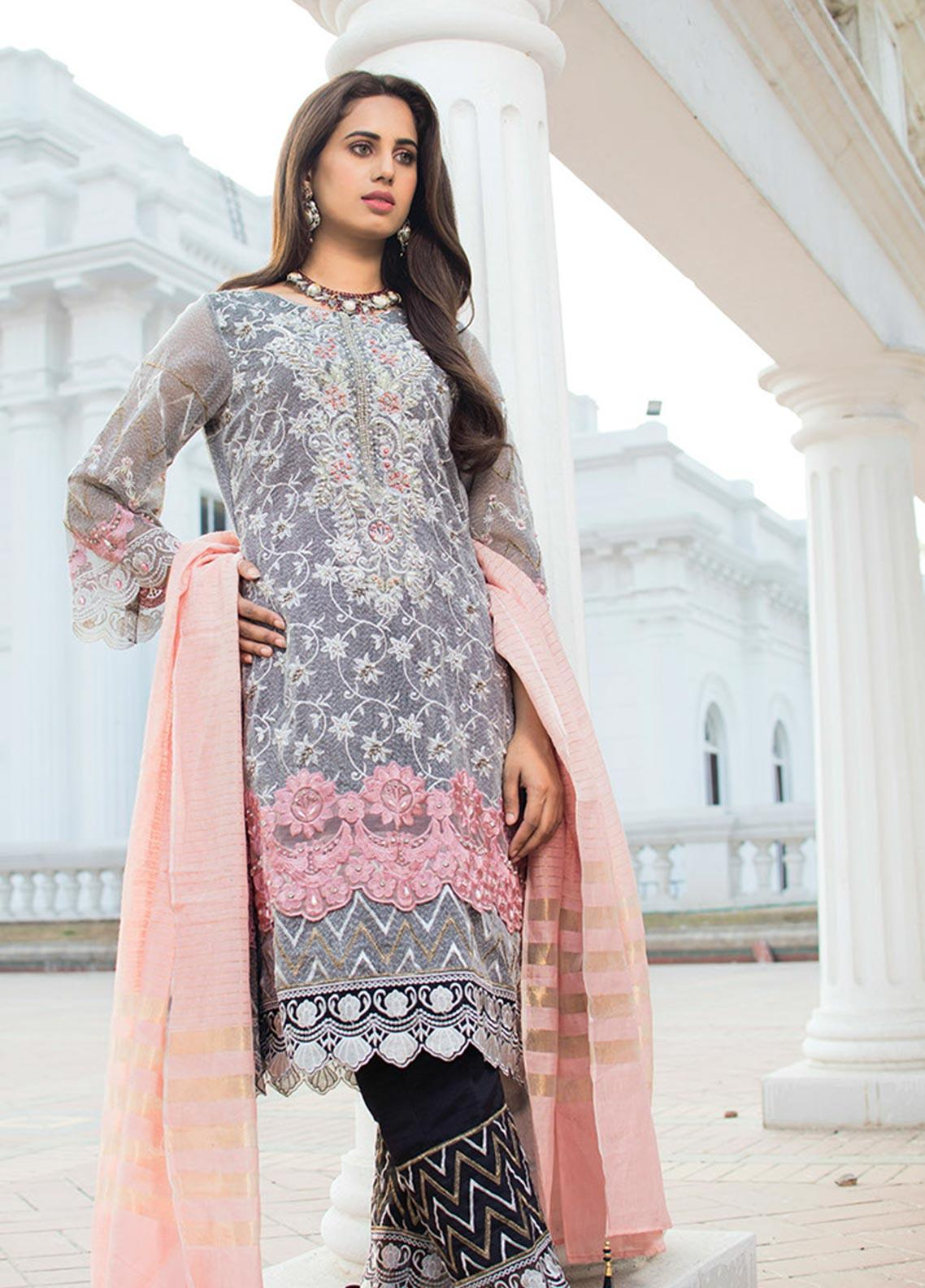 Noorma Kamal Embroidered Net Unstitched 3 Piece Suit NK19SW 09 Dianthus Dove - Wedding Collection