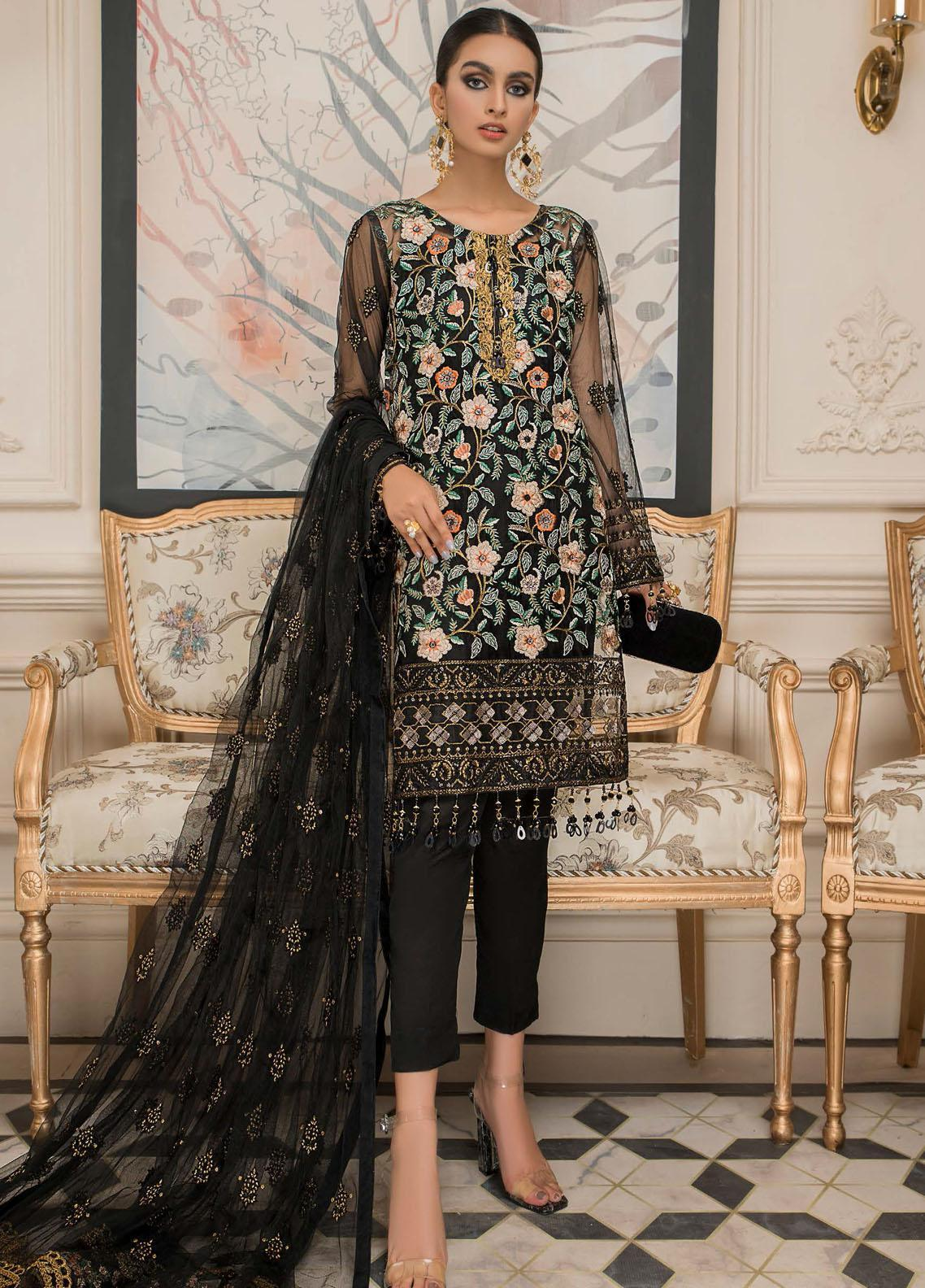 Nourang by Maryam's Embroidered Chiffon Suits Unstitched 3 Piece MRM21NC D-216 - Festive Collection