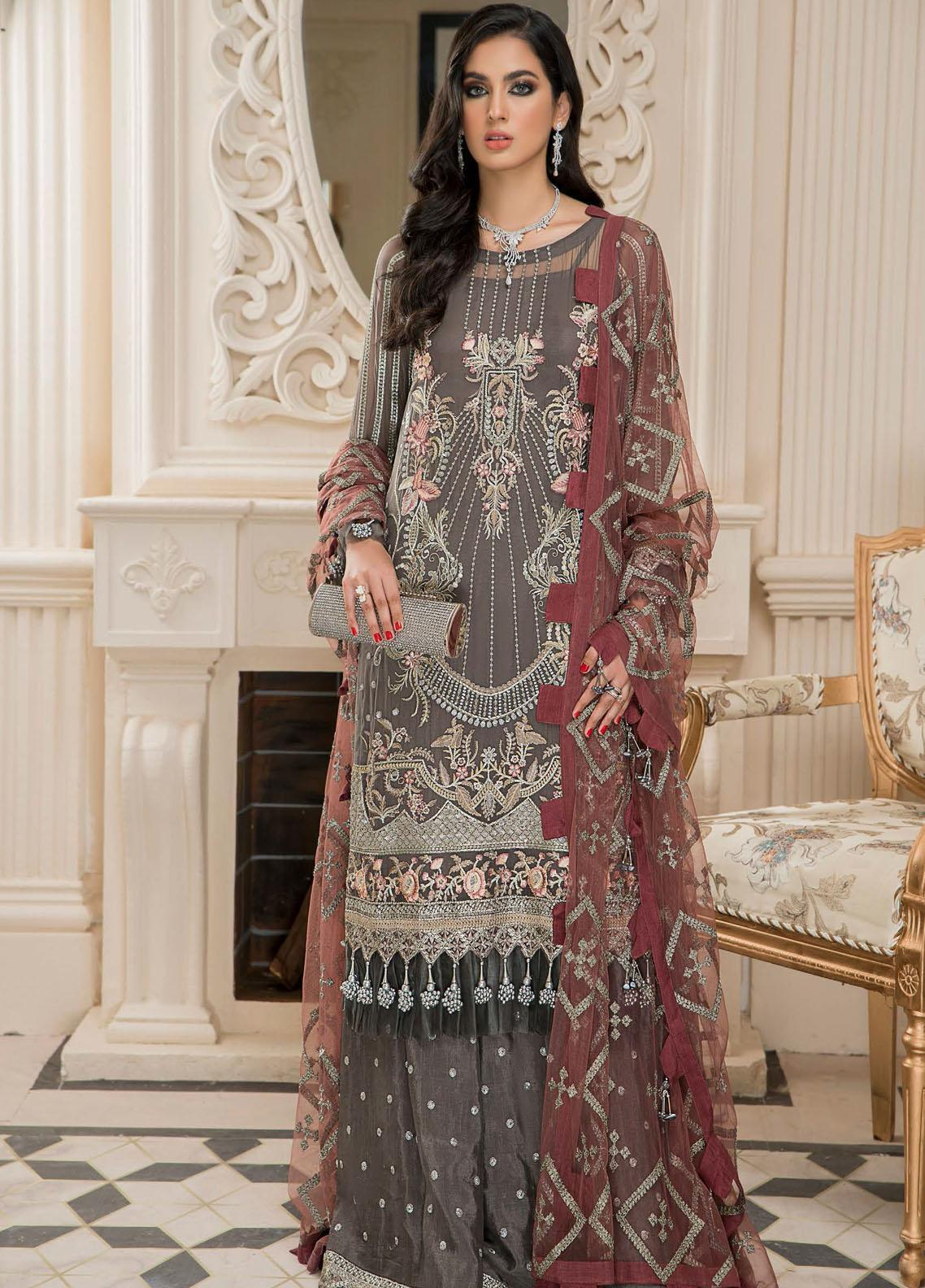 Nourang by Maryam's Embroidered Chiffon Suits Unstitched 3 Piece MRM21NC D-218 - Festive Collection