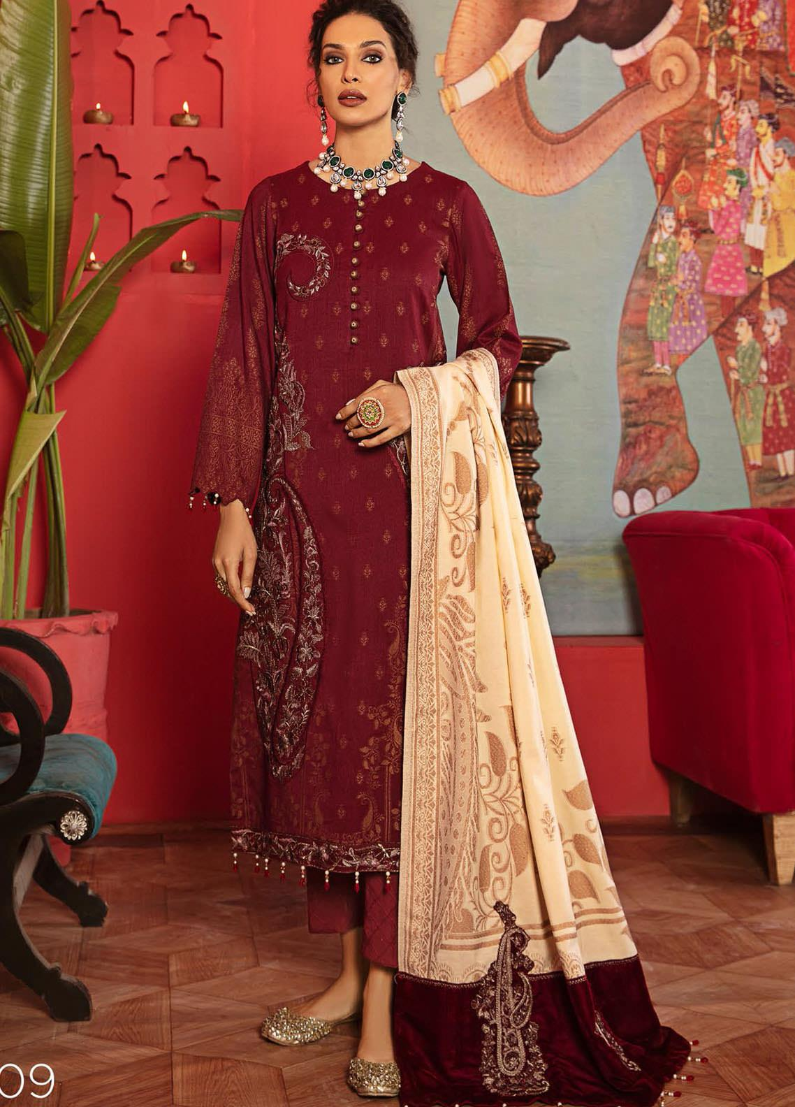 Nureh Embroidered Leather Unstitched 3 Piece Suit N20LJ 09 - Winter Collection