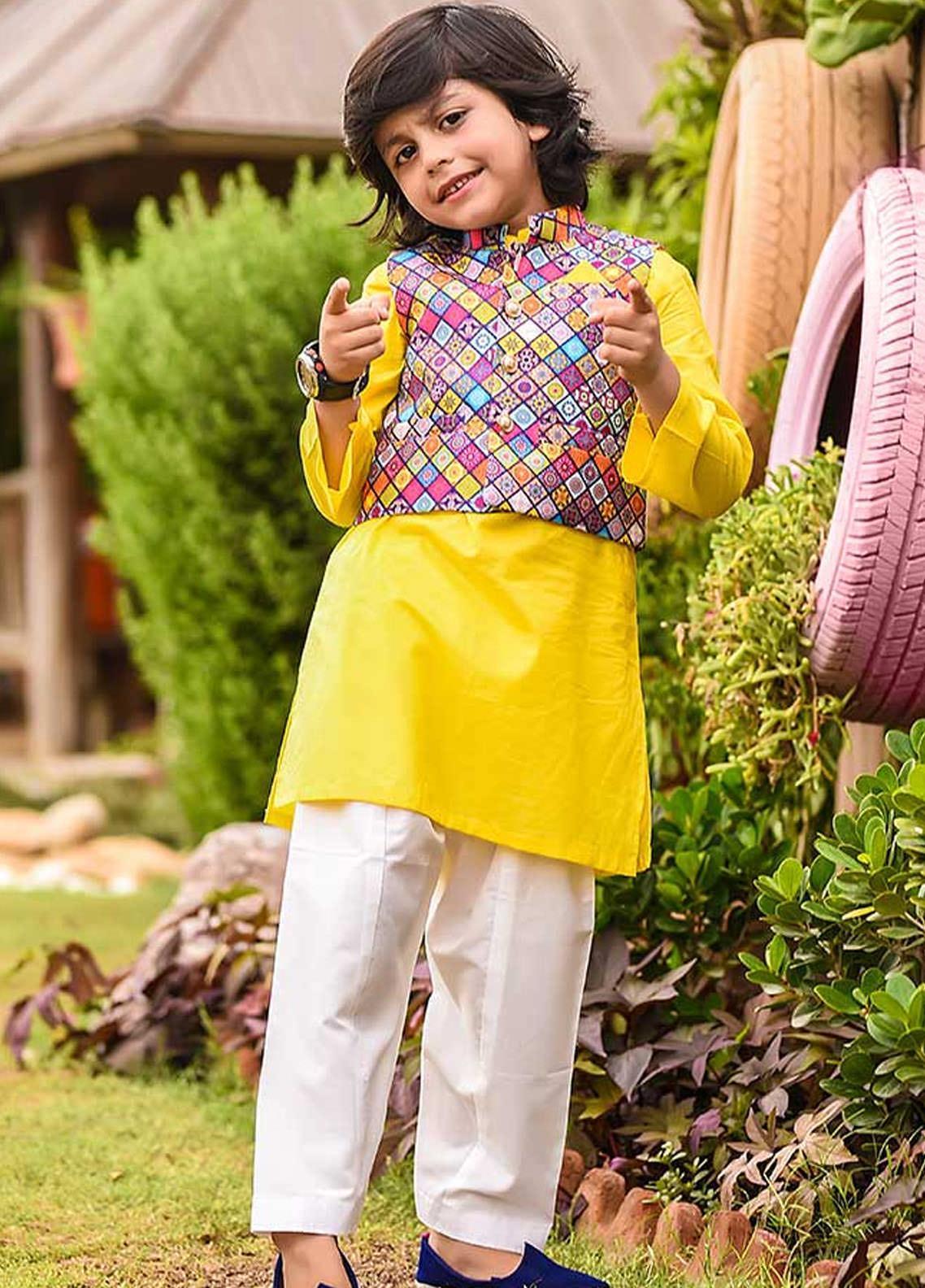 Ochre Cotton Formal Kurta Shalwar with Waistcoat for Boys -  OBK-09 Yellow