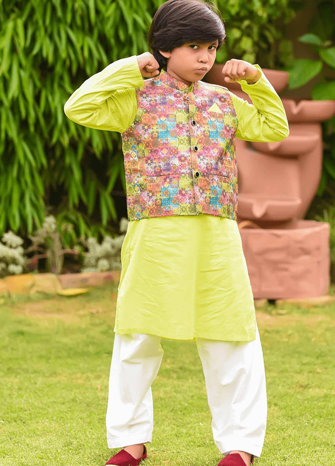 Ochre Cotton Formal Kurta Shalwar with Waistcoat for Boys -  OBK-11 Lime Green