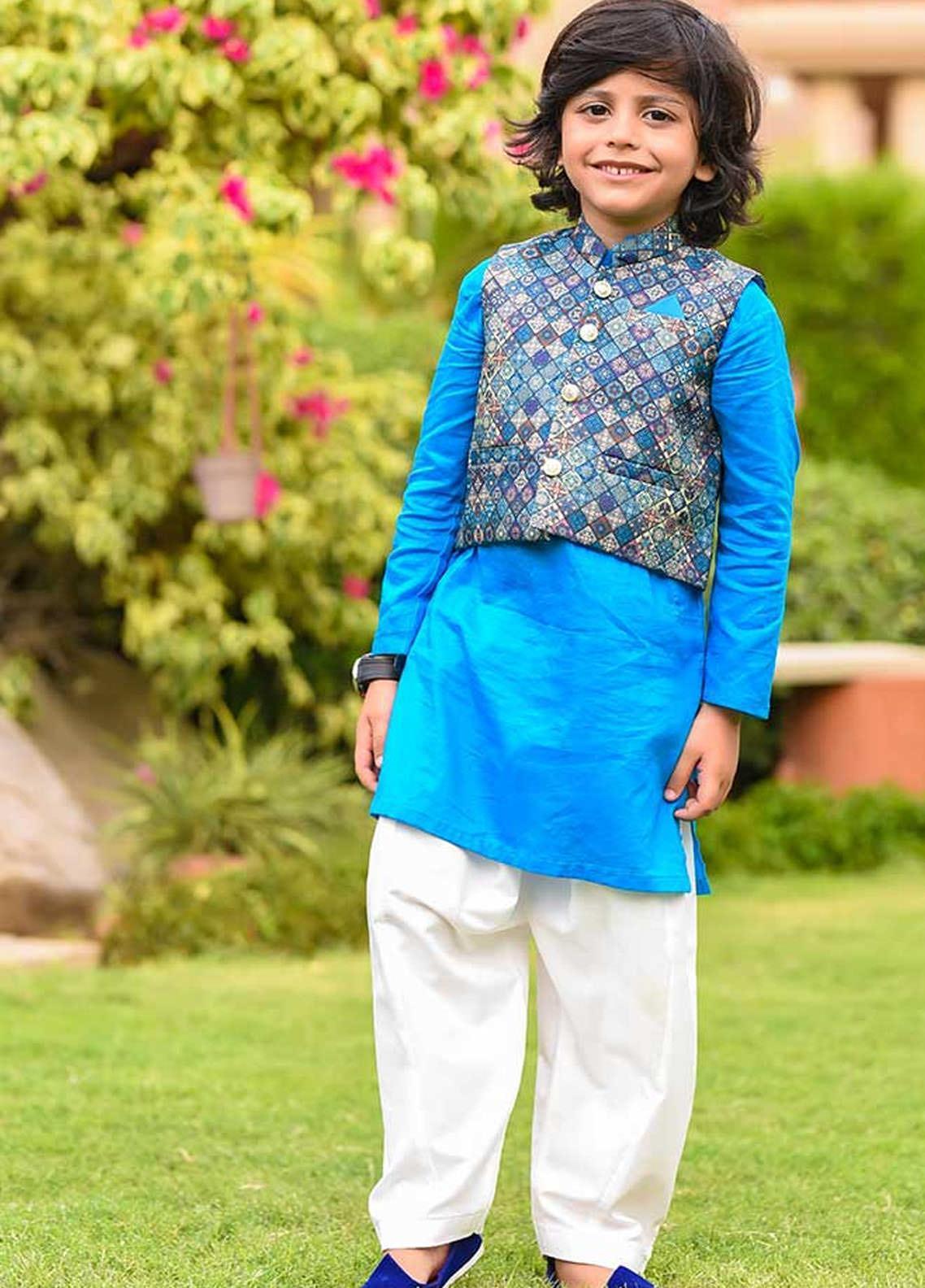 Ochre Cotton Formal Boys Kurta Shalwar with Waistcoat -  OBK-12 Blue