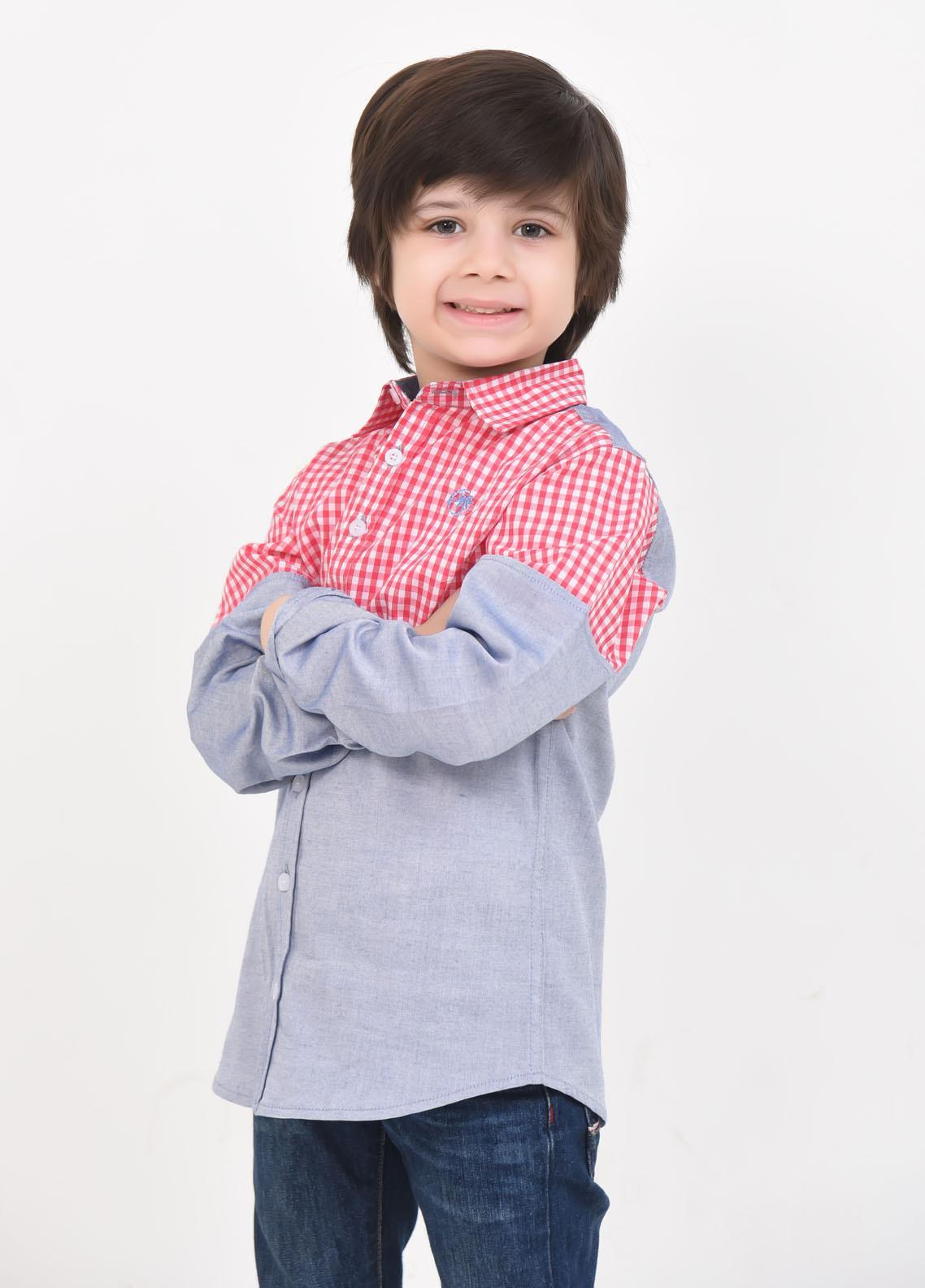 Ochre Cotton Casual Boys Shirts -  OBS-15 Red