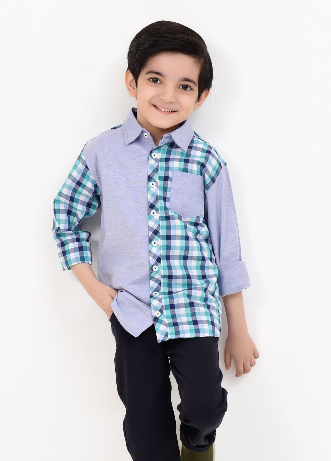 Ochre Cotton Casual Boys Shirts -  OBS-20 Light Blue