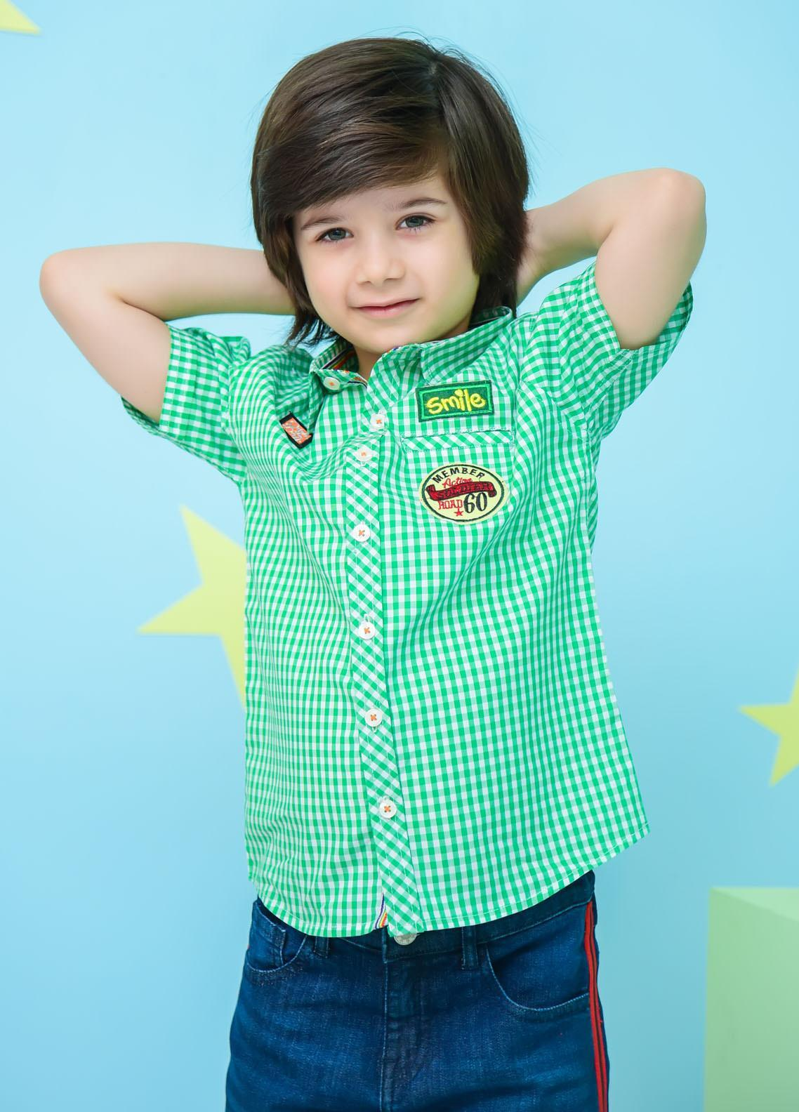 Ochre Cotton Casual Shirts for Boys -  OBS-23 Green