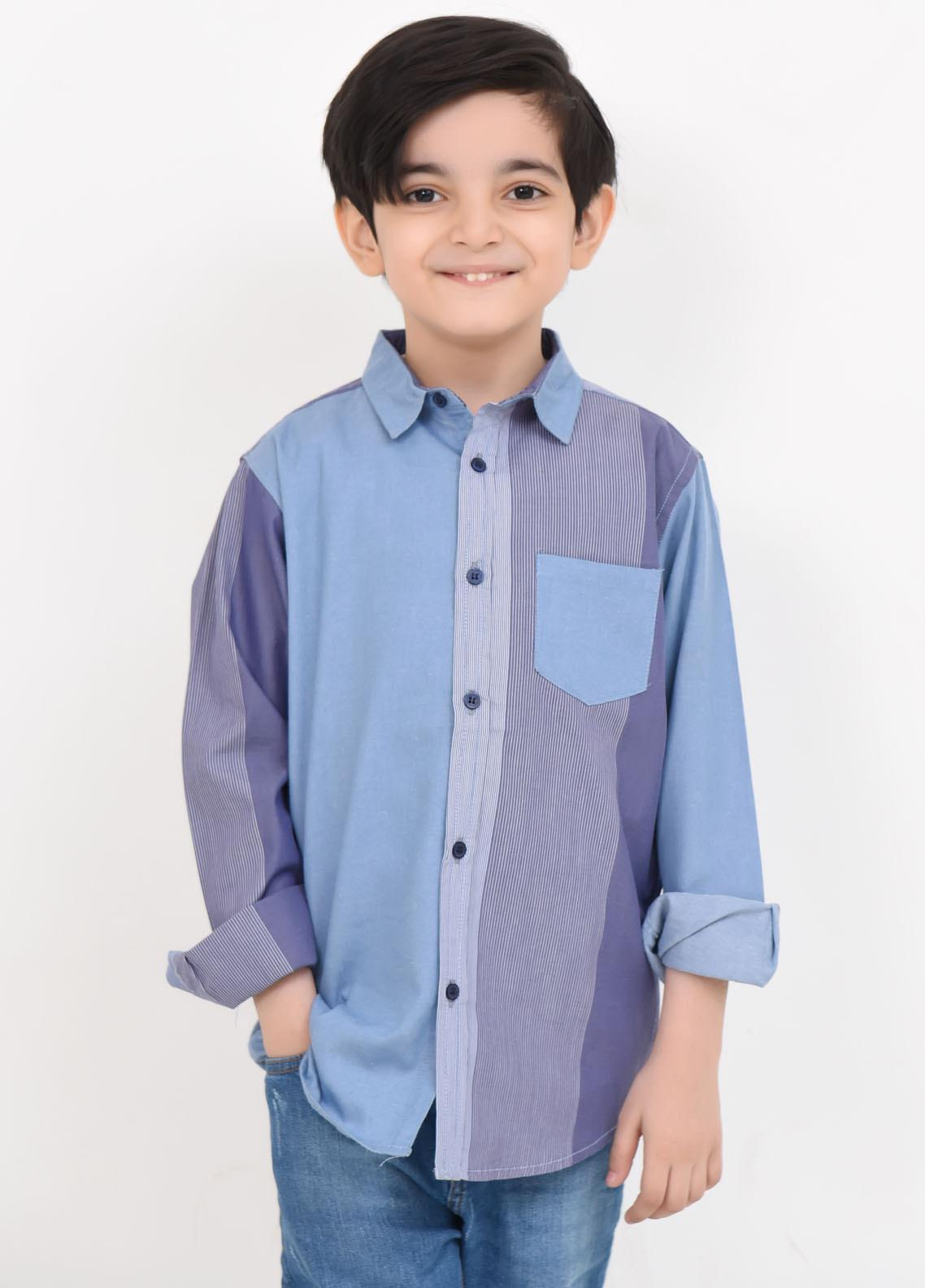 Ochre Cotton Casual Shirts for Boys -  OBS-25 Black