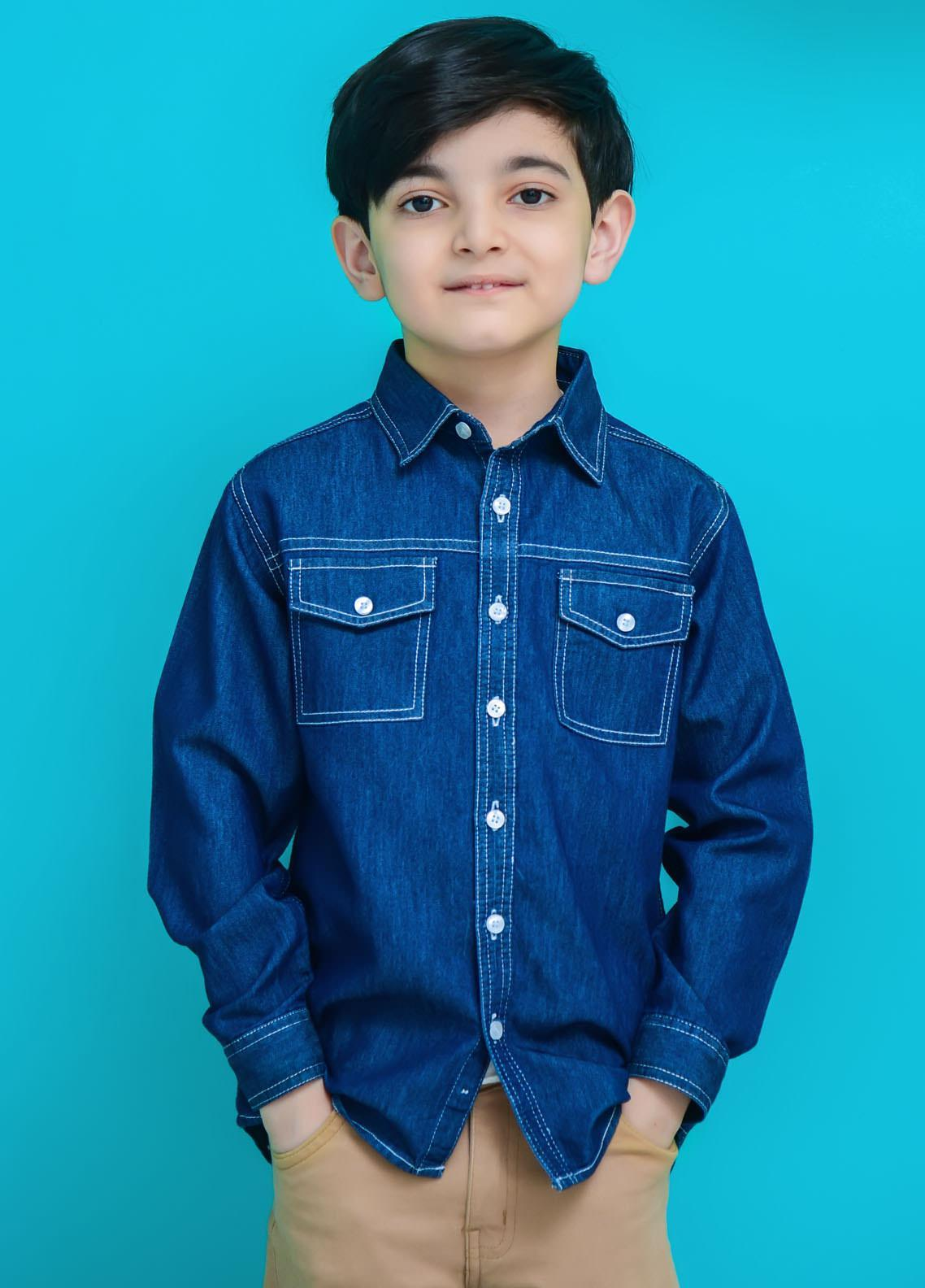 Ochre Denim Casual Boys Shirts -  OBS-27 Denim Blue
