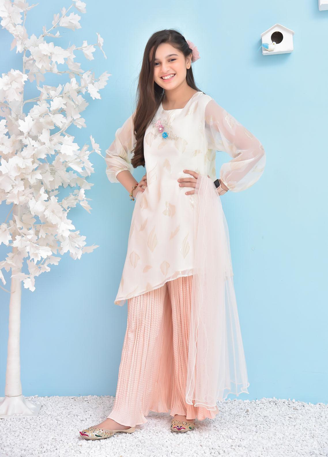 Ochre Silk Fancy 3 Piece Suit for Girls -  OFW-338 Off White