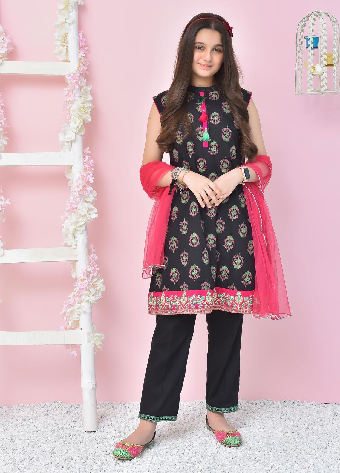 Ochre Cotton Fancy Girls 3 Piece Suit -  OFK-800 Black