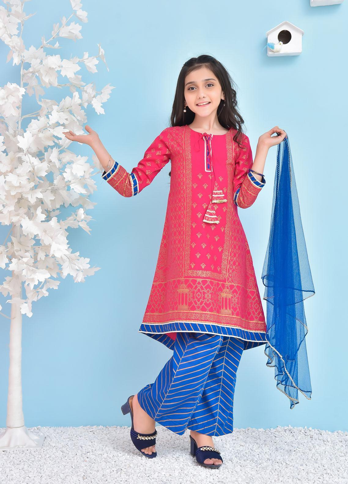 Ochre Cotton Fancy 3 Piece Suit for Girls -  OFK-779 Hot Pink