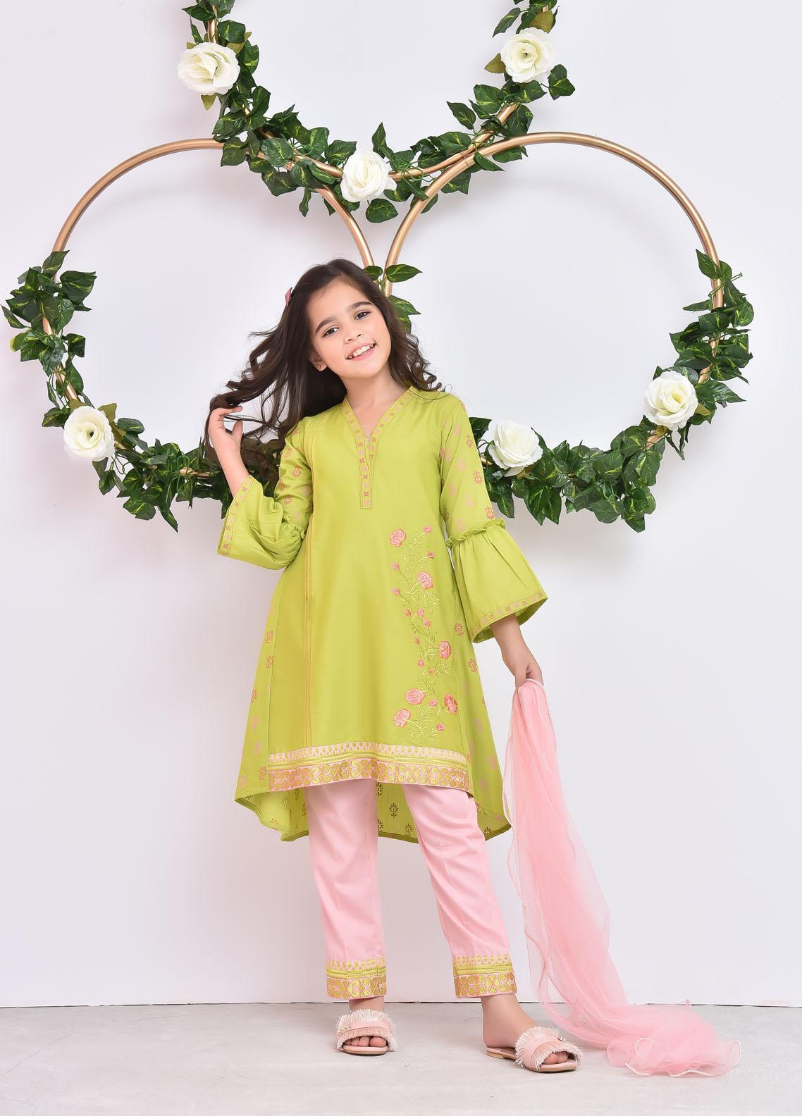 Ochre Cotton Fancy Girls 3 Piece Suit -  OFK-793 Lime Green