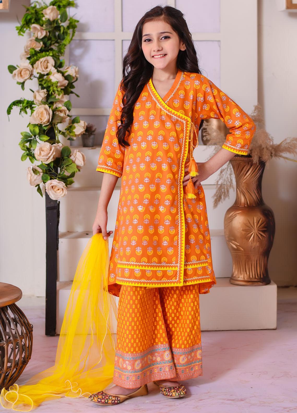 Ochre Cotton Fancy 3 Piece for Girls -  OFK-769 Orange