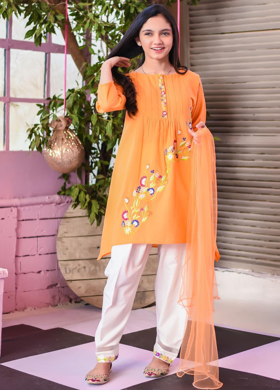Ochre Lawn Fancy Girls 3 Piece Suit -  OFK-770 Tengrine Orange