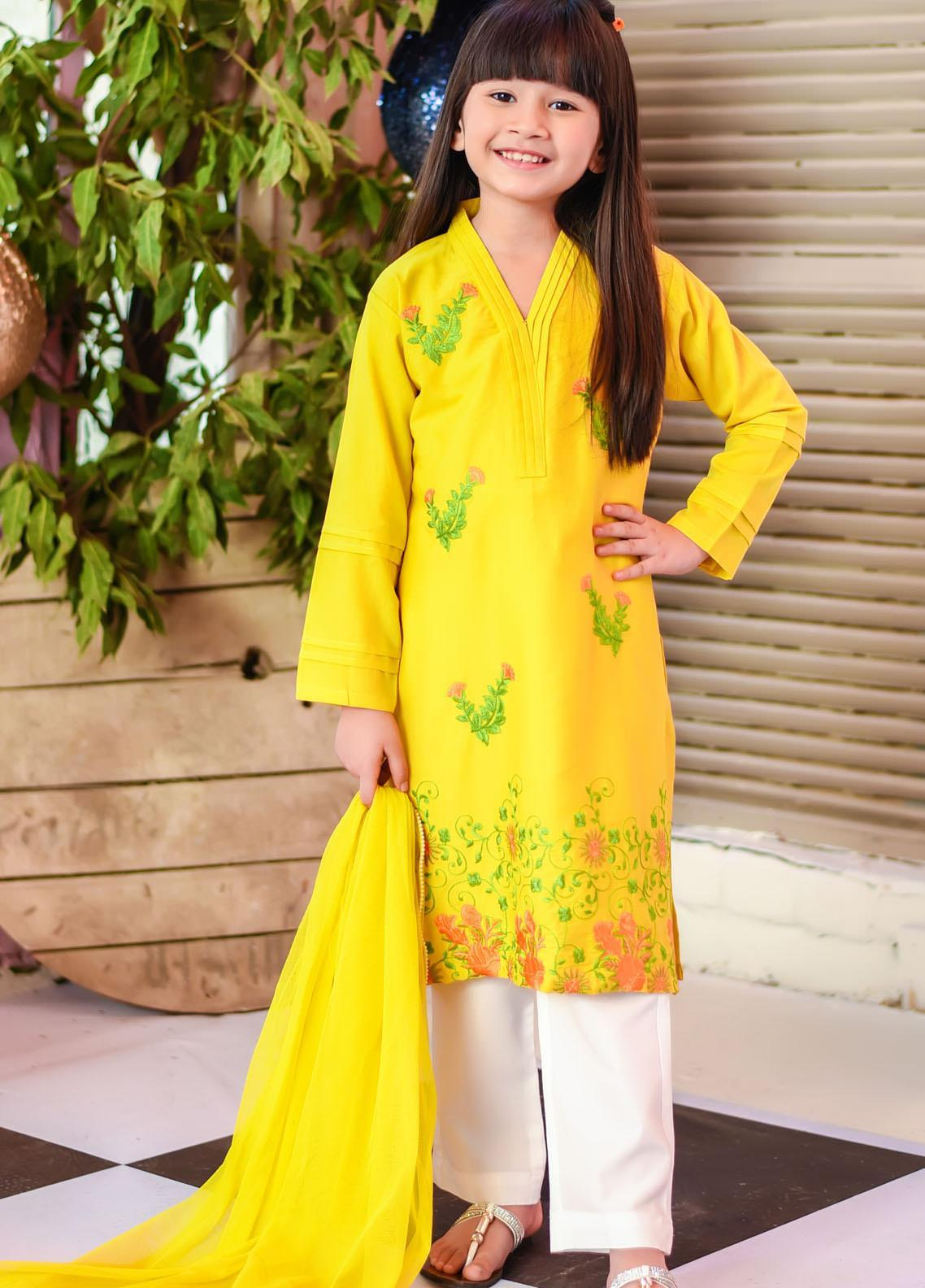 Ochre Cotton Fancy 3 Piece for Girls -  OFK-772 Lime Yellow
