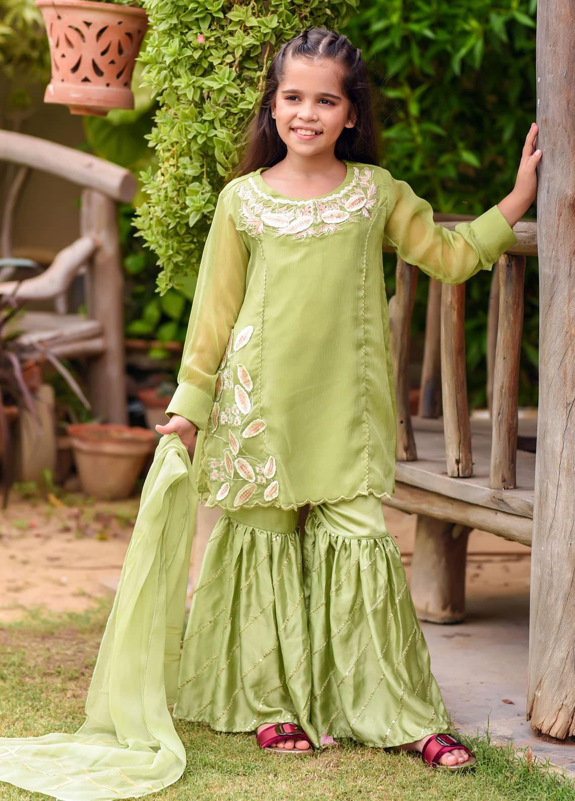 Ochre Chiffon Fancy 3 Piece Suit for Girls -  OFW-284 Parrot Green