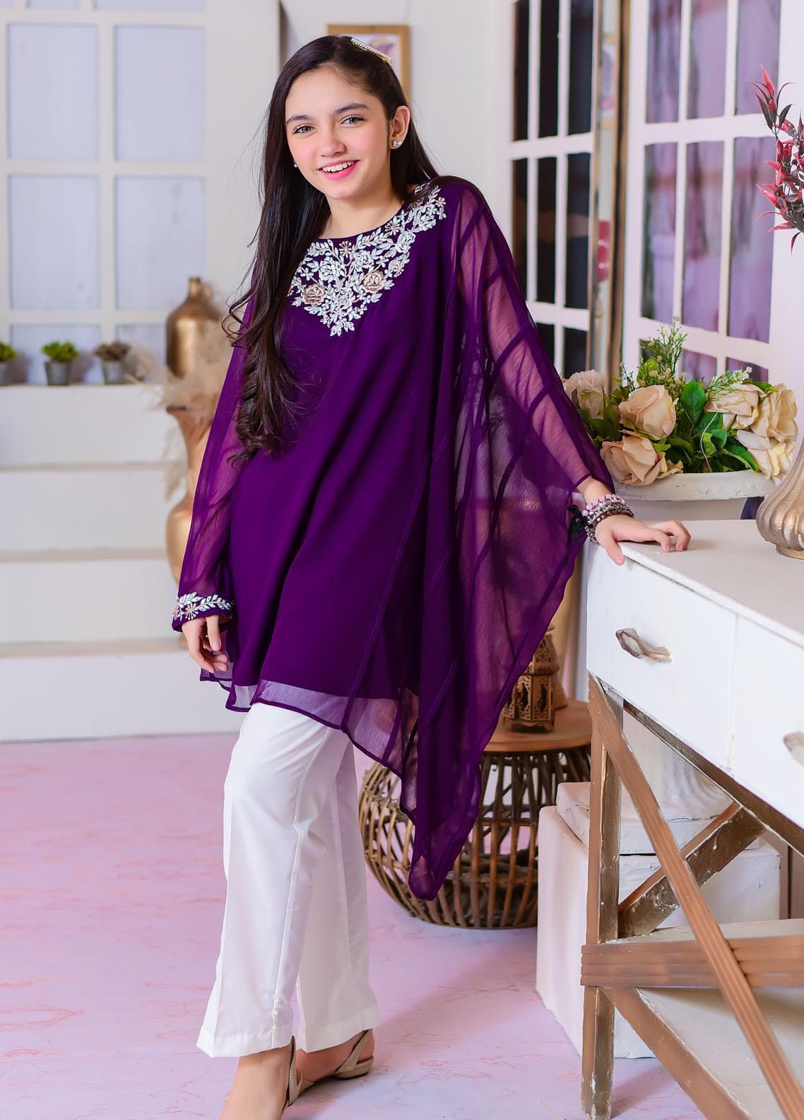 Ochre Chiffon Fancy Girls 2 Piece Suit -  OFW-317 Purple