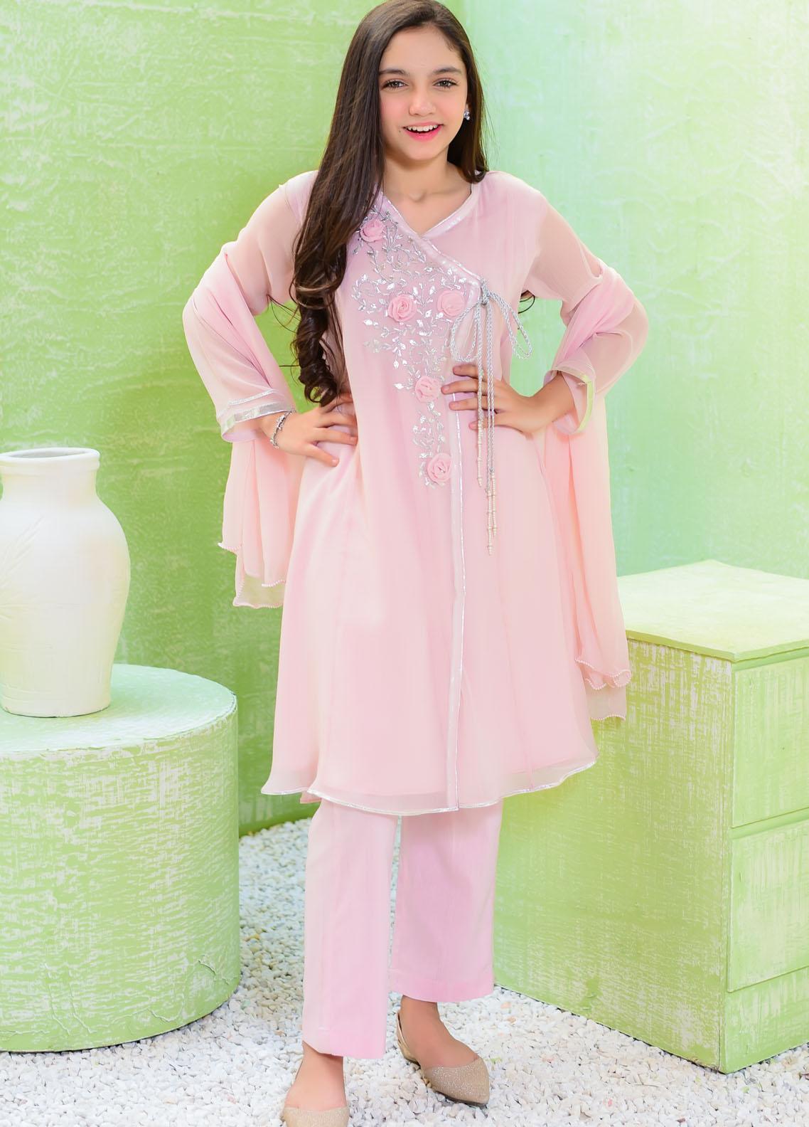 Ochre Chiffon Fancy Girls 3 Piece -  OFW-323 Poweder Pink