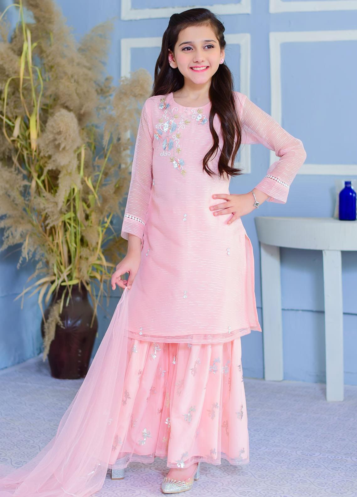 Ochre Chiffon Fancy 3 Piece for Girls -  OFW-332 Pink