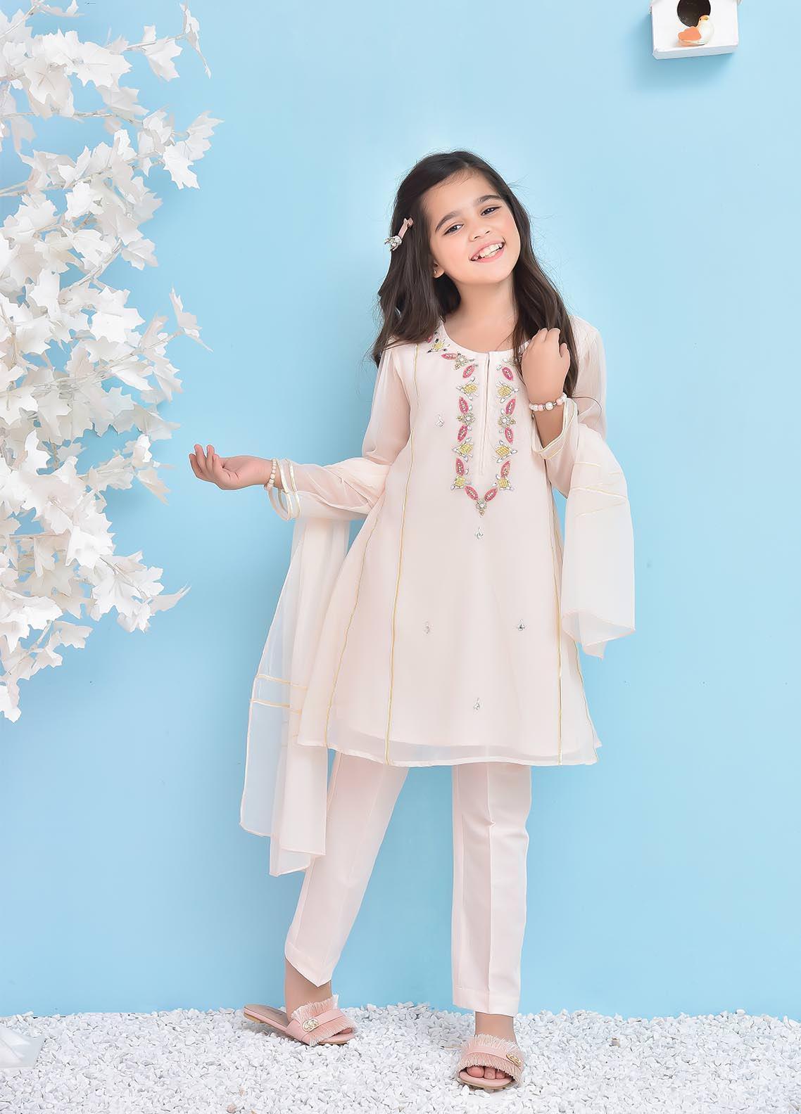Ochre Chiffon  3 Piece Suit for Girls -  OFW53 Poweder Pink