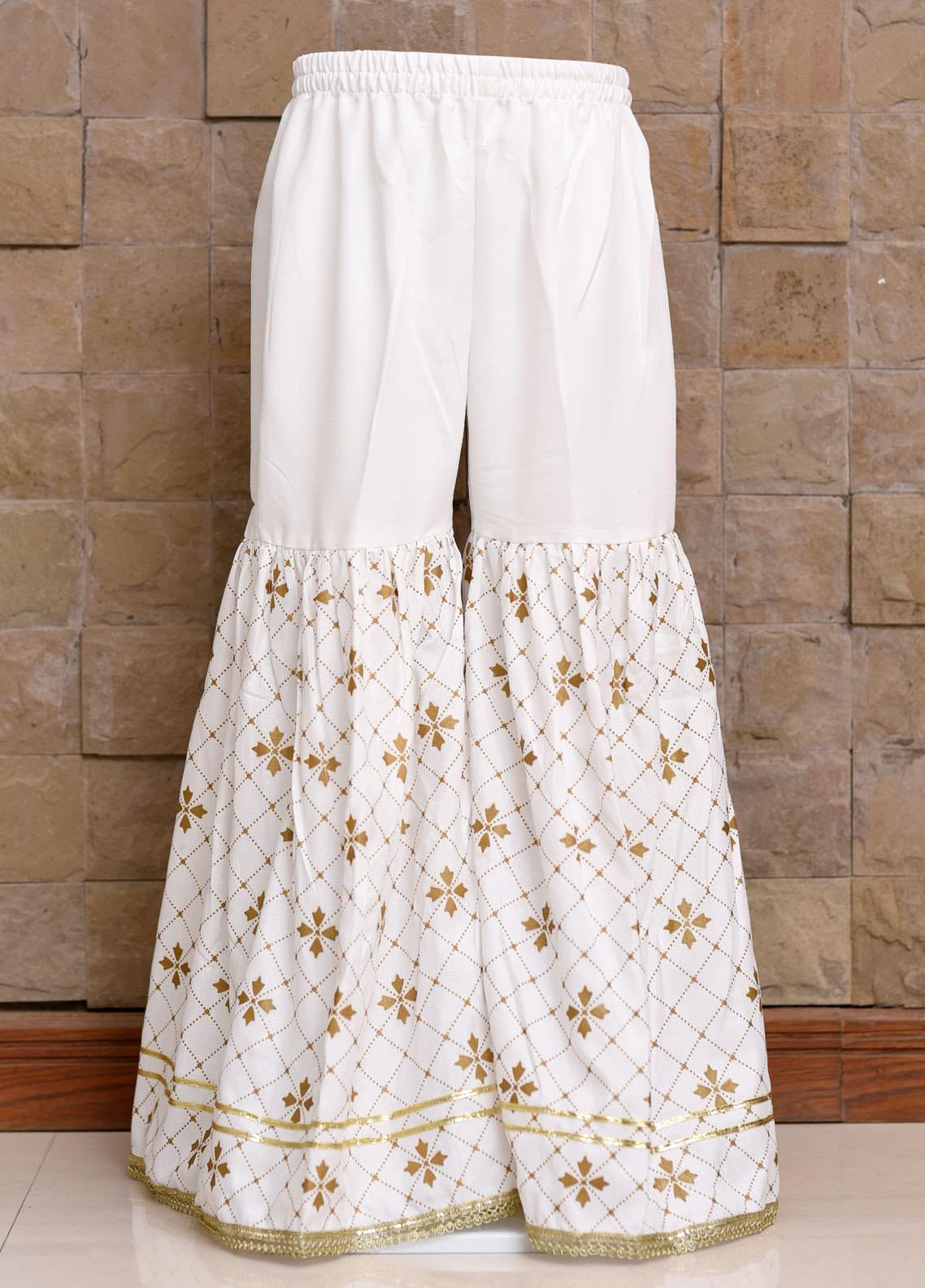Ochre Cotton Fancy Gharara for Girls -  OGP 05 Off White