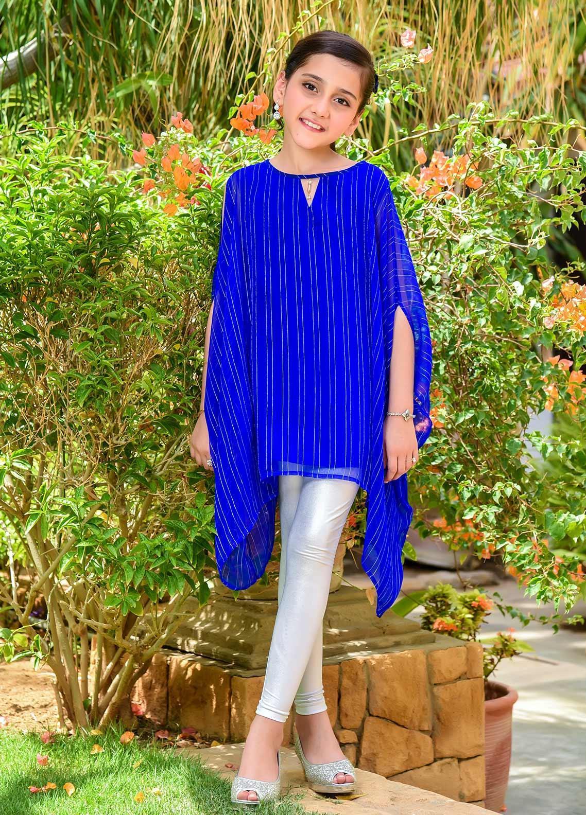 Ochre Chiffon Fancy Girls Kurtis -  OFK 723 Royal Blue