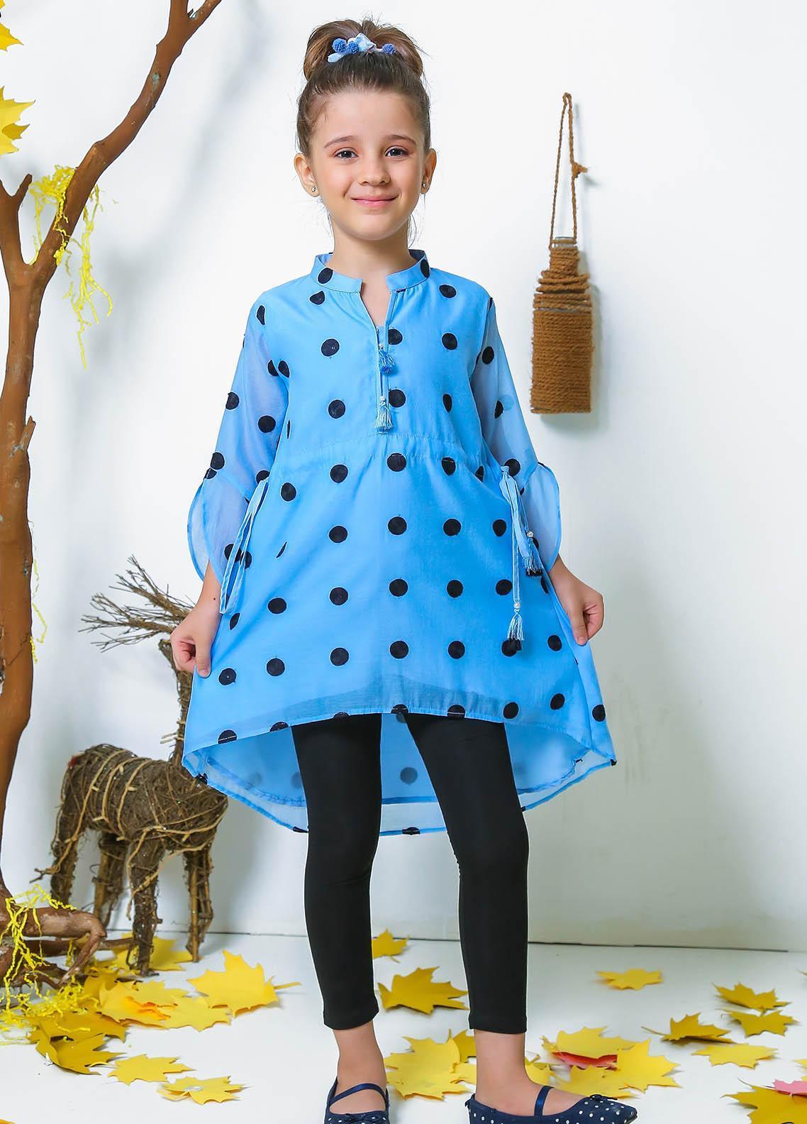 Ochre Silk Fancy Kurtis for Girls -  OFK 736 Blue