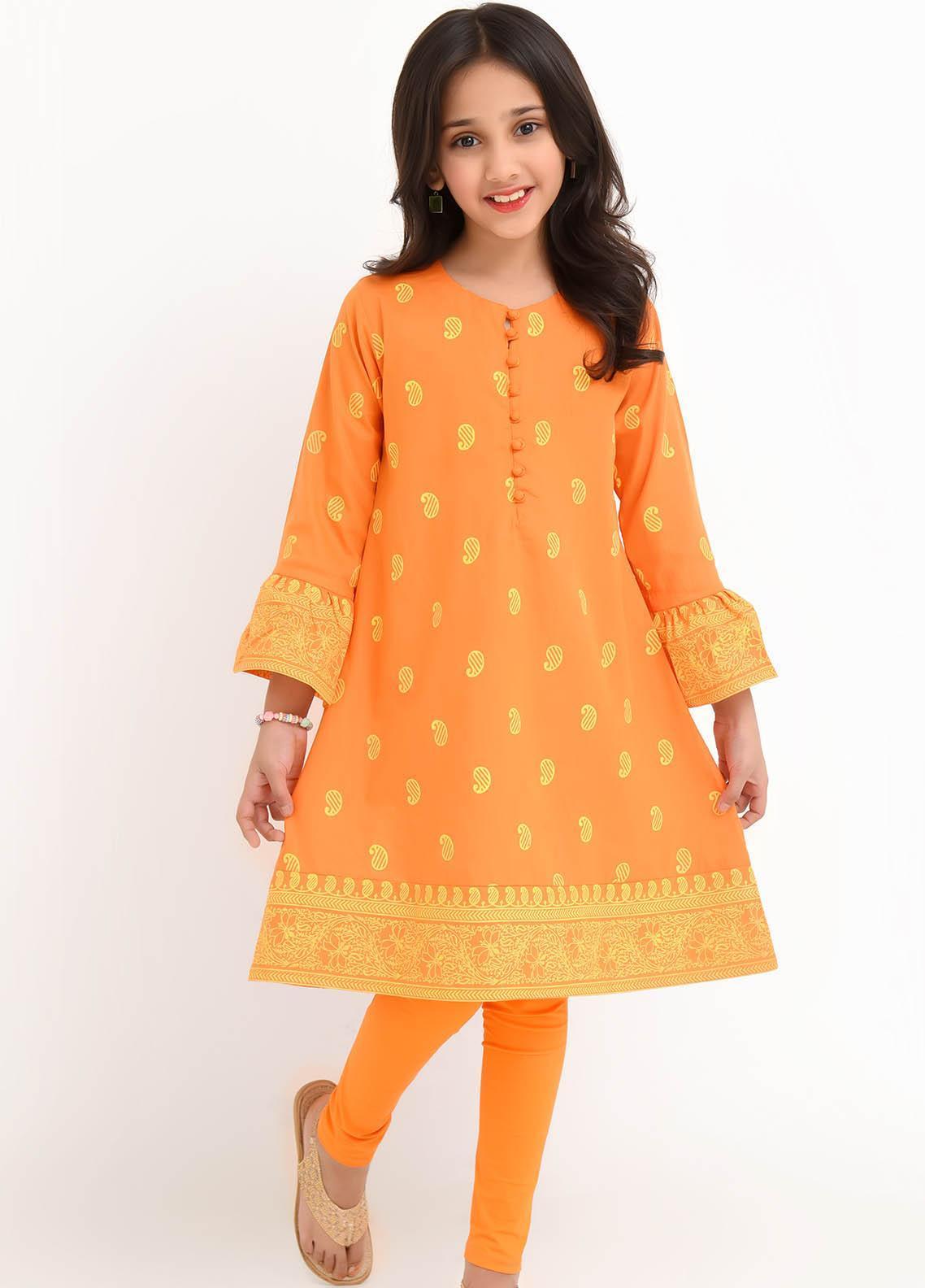 Ochre Cotton Fancy Girls Kurtis -  OFK 753 Orange