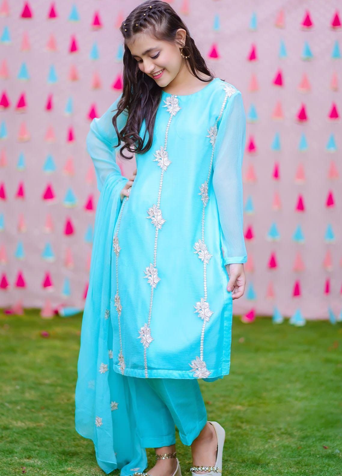 Ochre Chiffon Fancy Girls 3 Piece -  OFW-303 Aqua Blue