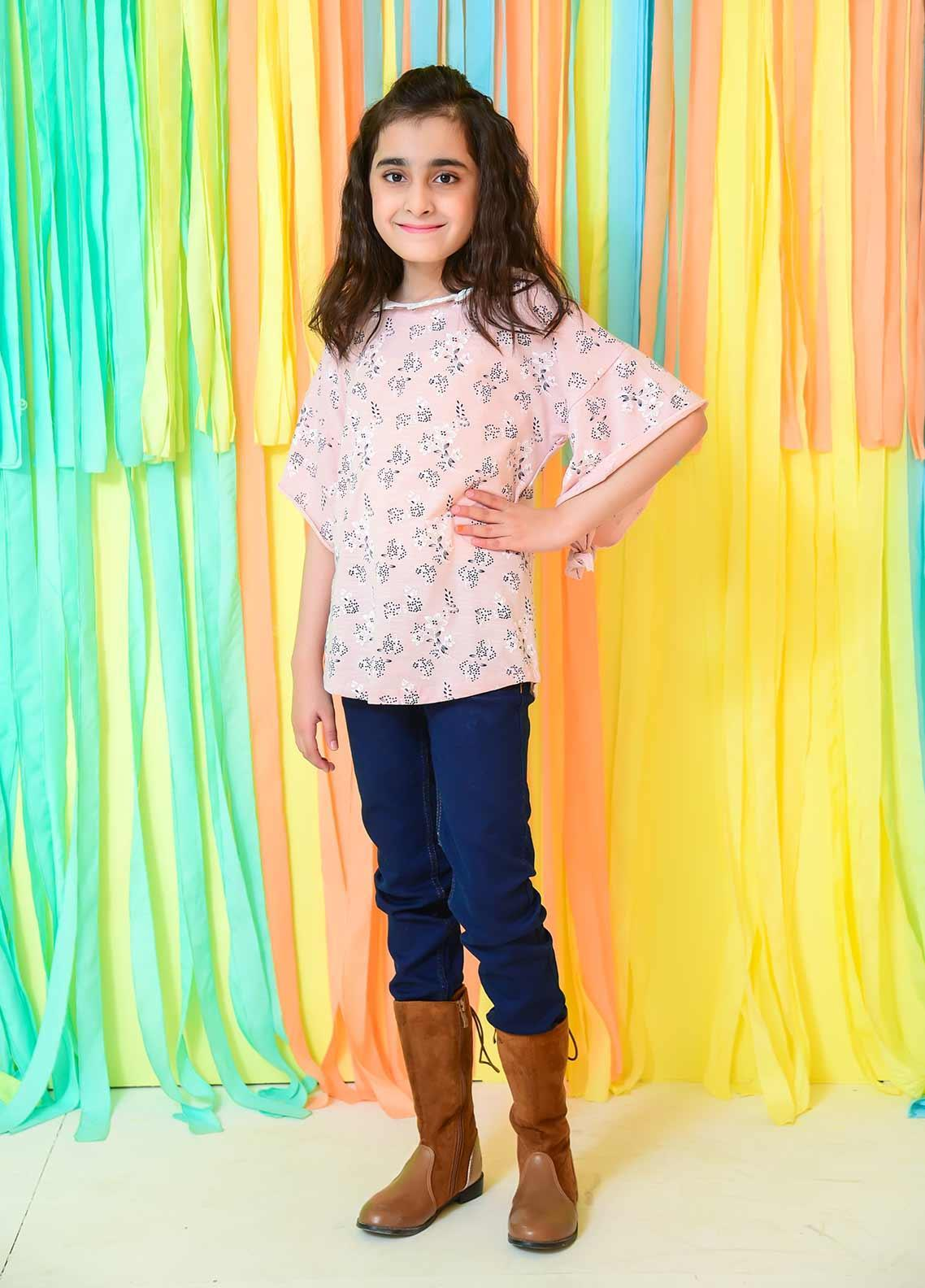 Ochre Cotton Fancy Western Tops for Girls -  OGK 59 Rose Pink